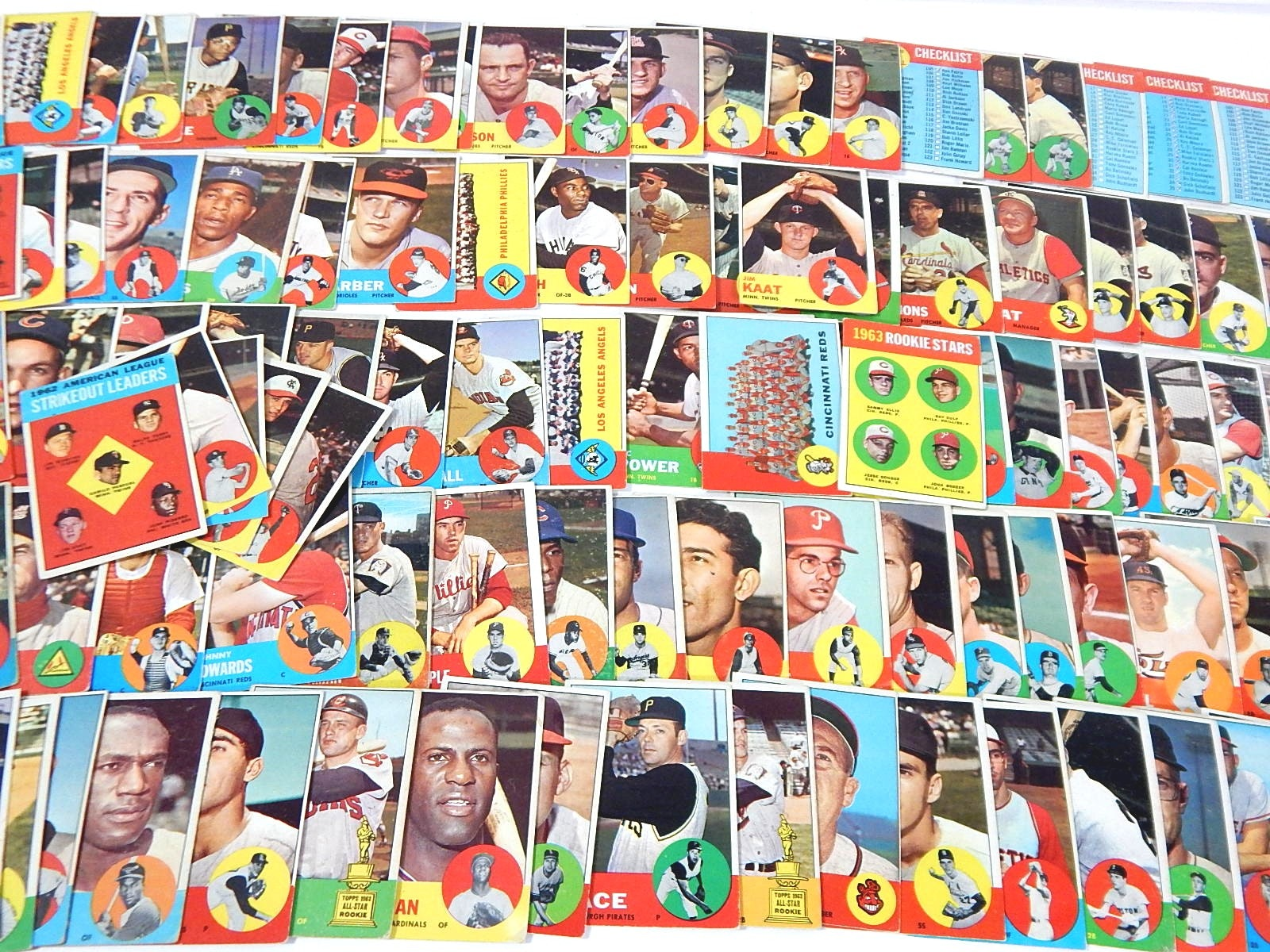 1963 Topps Baseball Cards with Bob Uecker Rookie Card, Jim Kaat- Over 100 Ct.