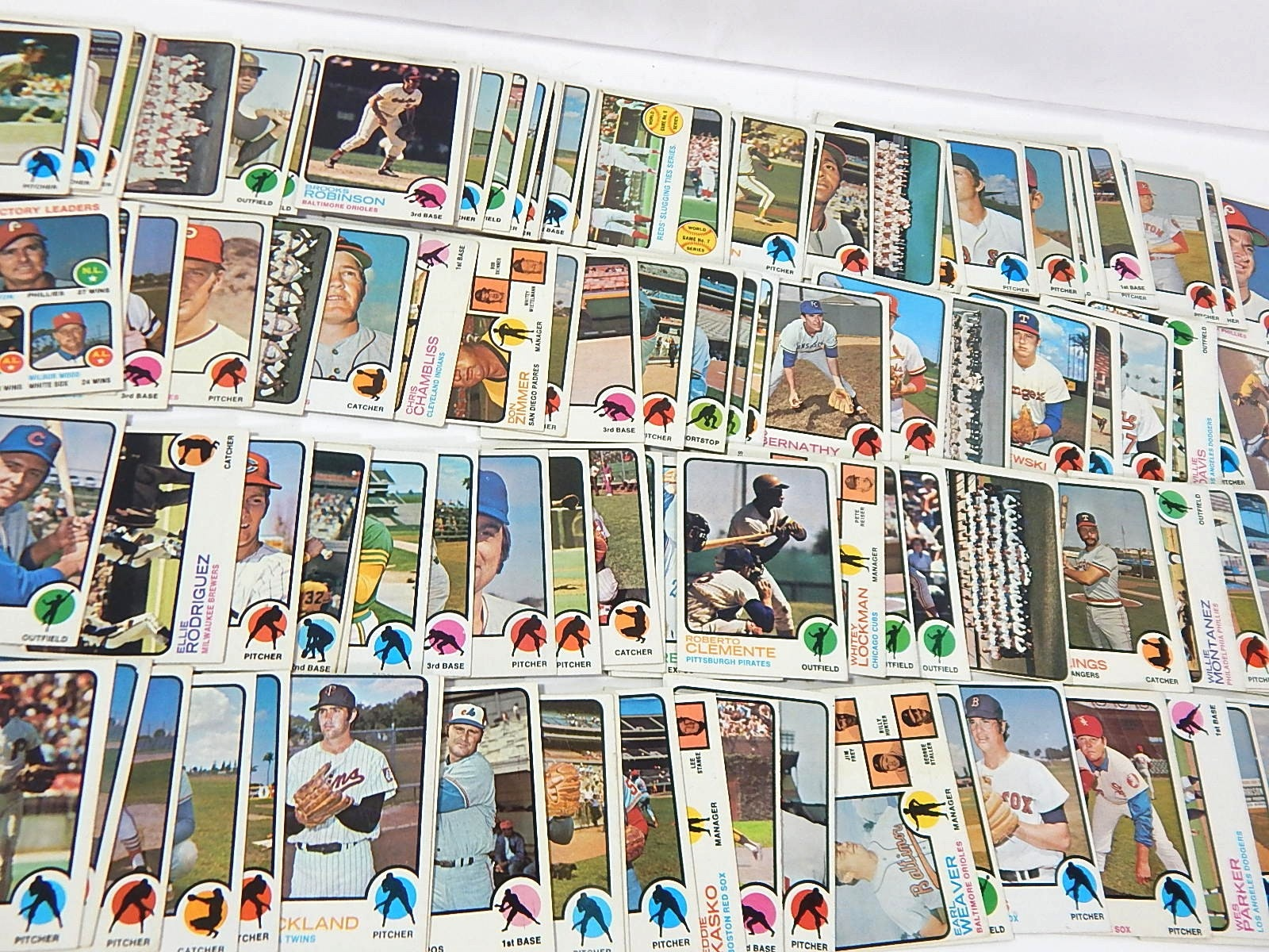 1973 Topps Baseball Cards with S. Carlton, R. Clemente #50 - Over 100 Ct.