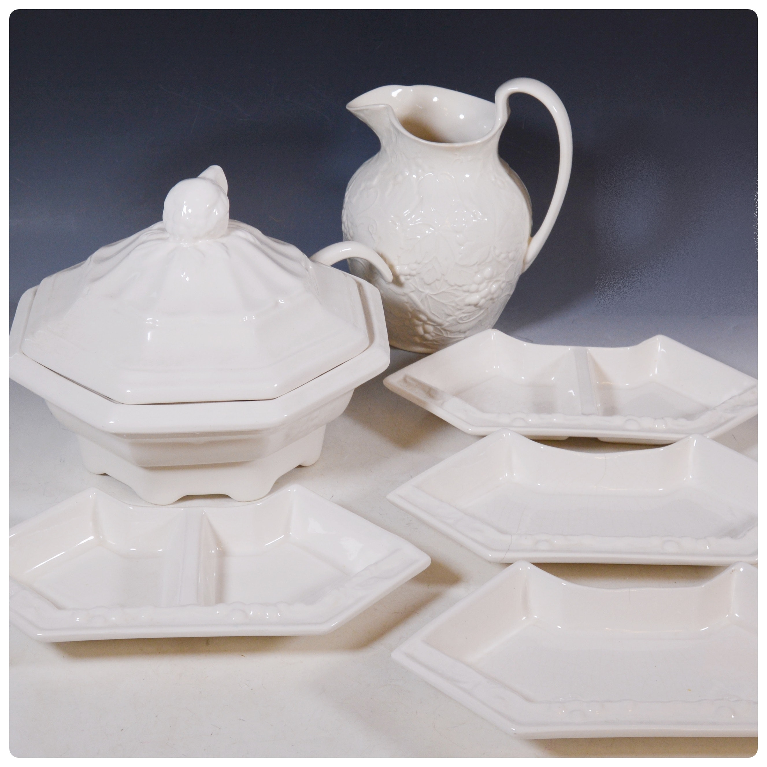 Wedgwood Pitcher and Other Off-White Porcelain Tureen and Bowls