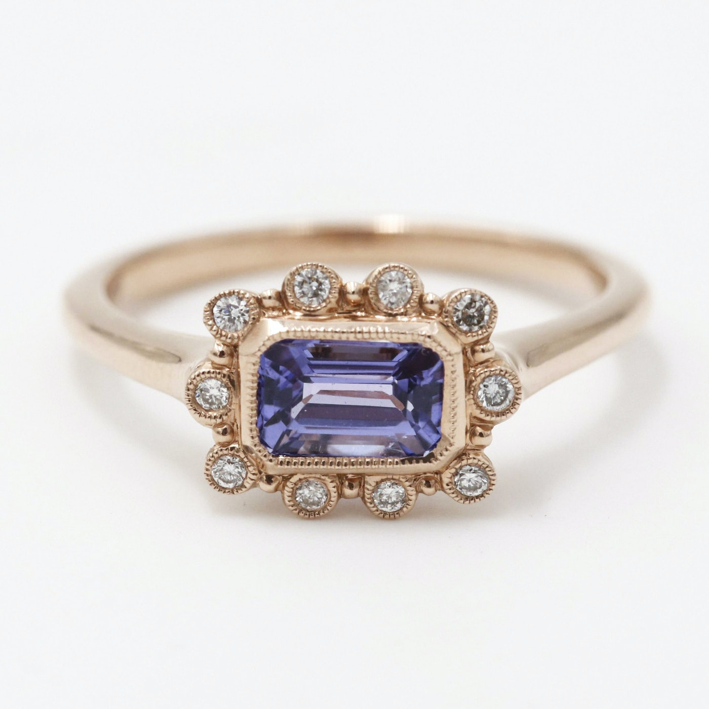 14K Rose Gold Tanzanite Diamond Ring