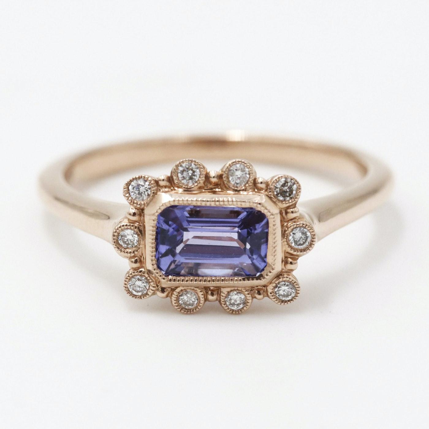 14K Rose Gold Tanzanite Diamond Ring