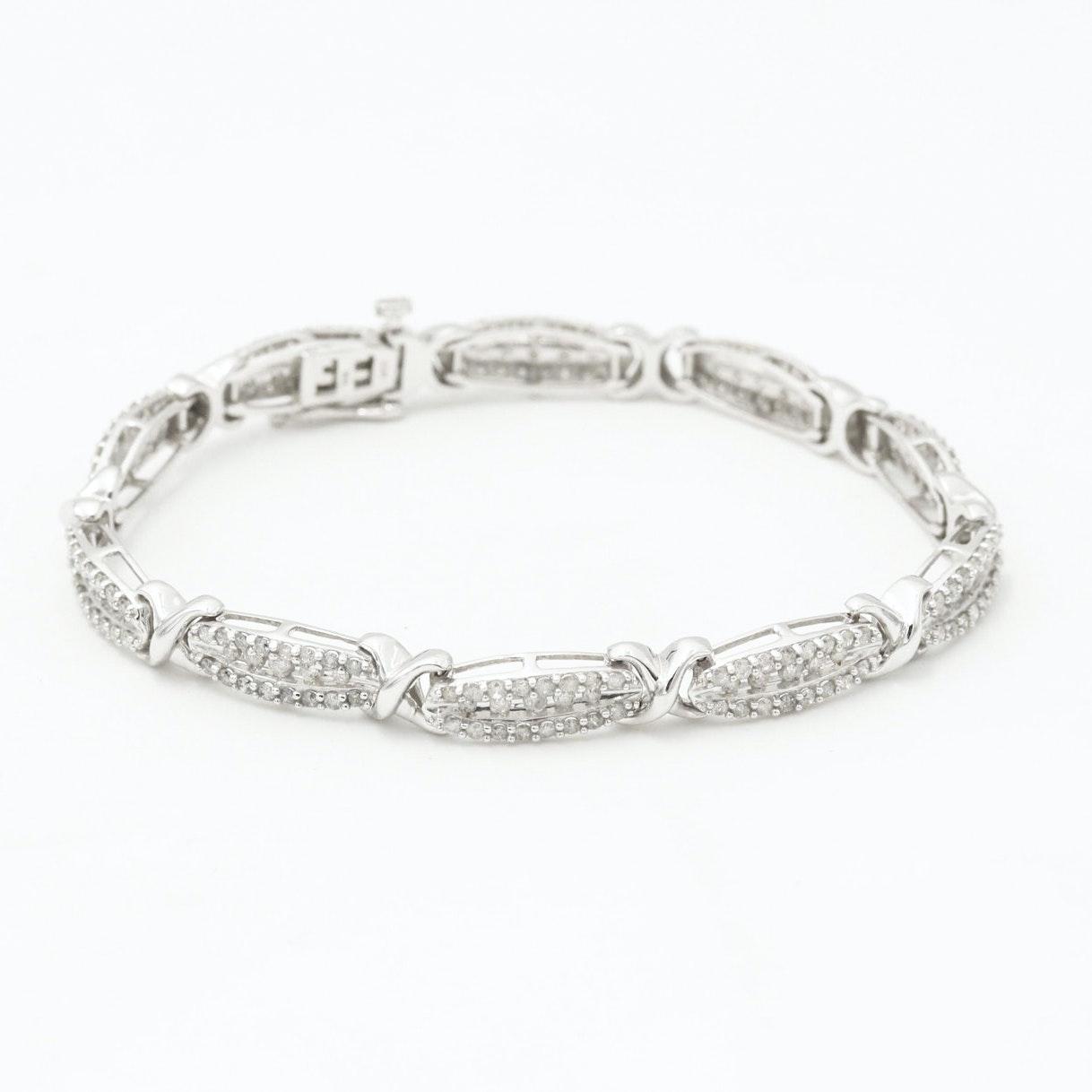 10K White Gold 3.03 CTW Diamond Bracelet