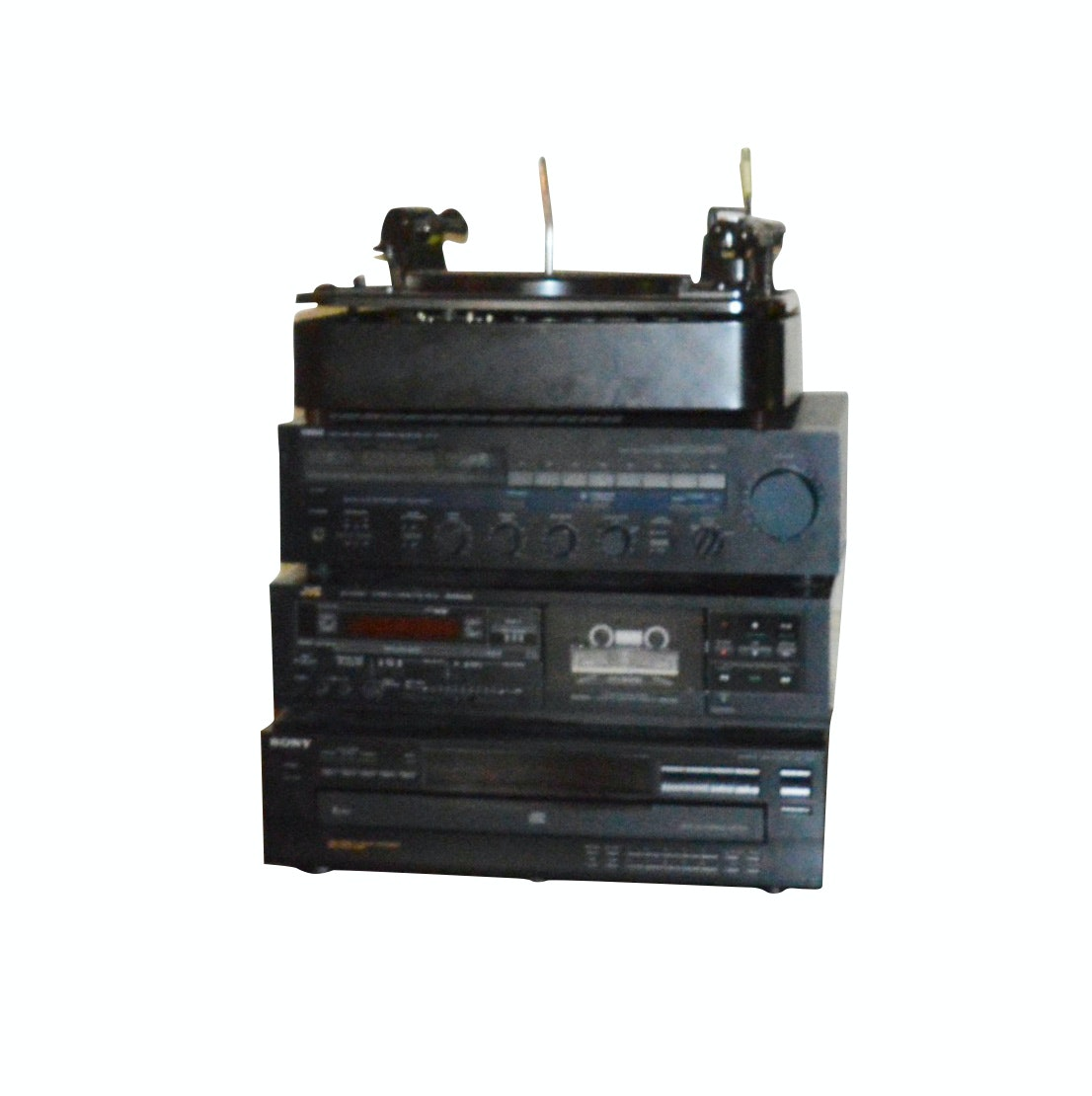 Garrad Turntable, Yamaha Receiver, JVC Cassette Deck and SONY Disc Player