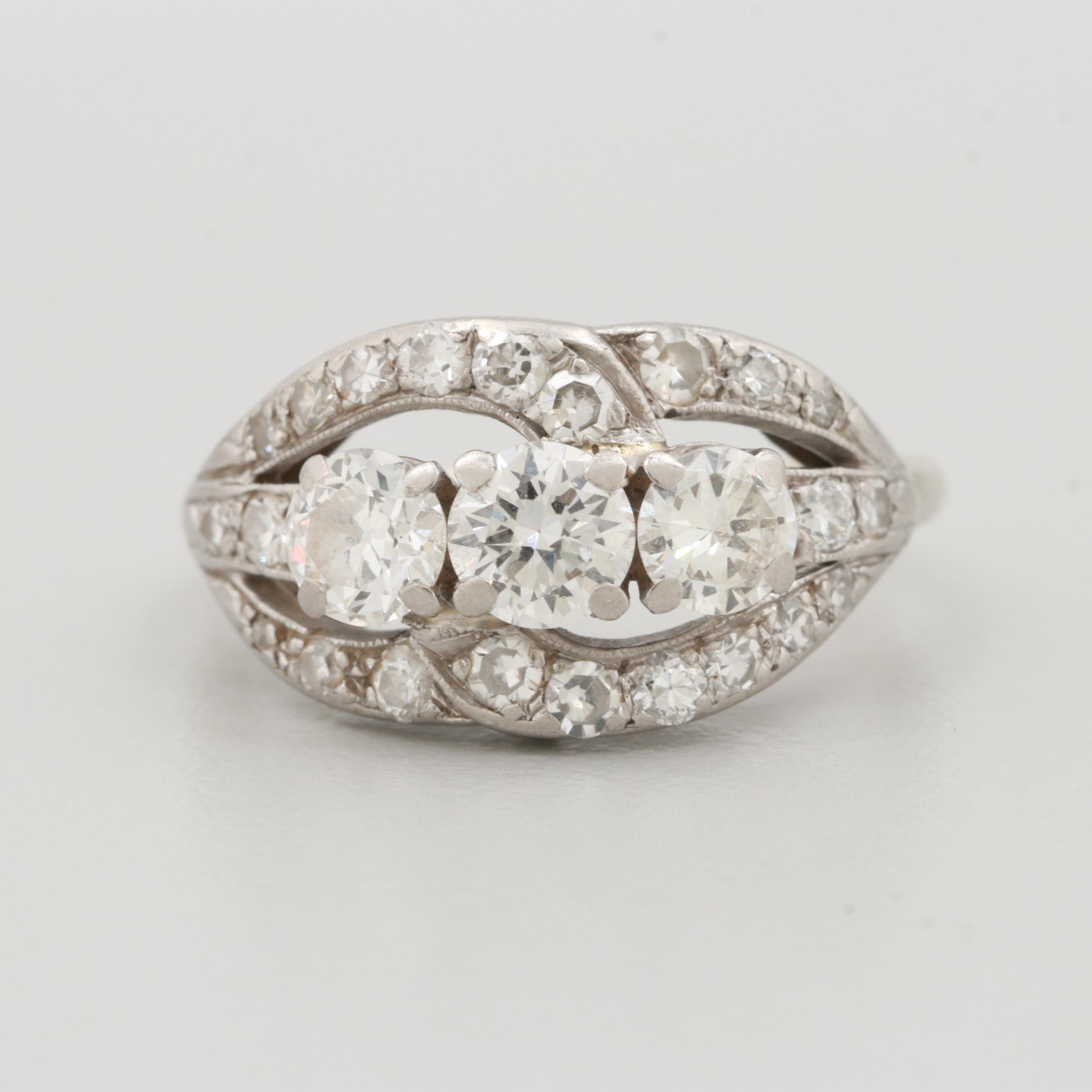 Palladium 1.60 CTW Diamond Ring
