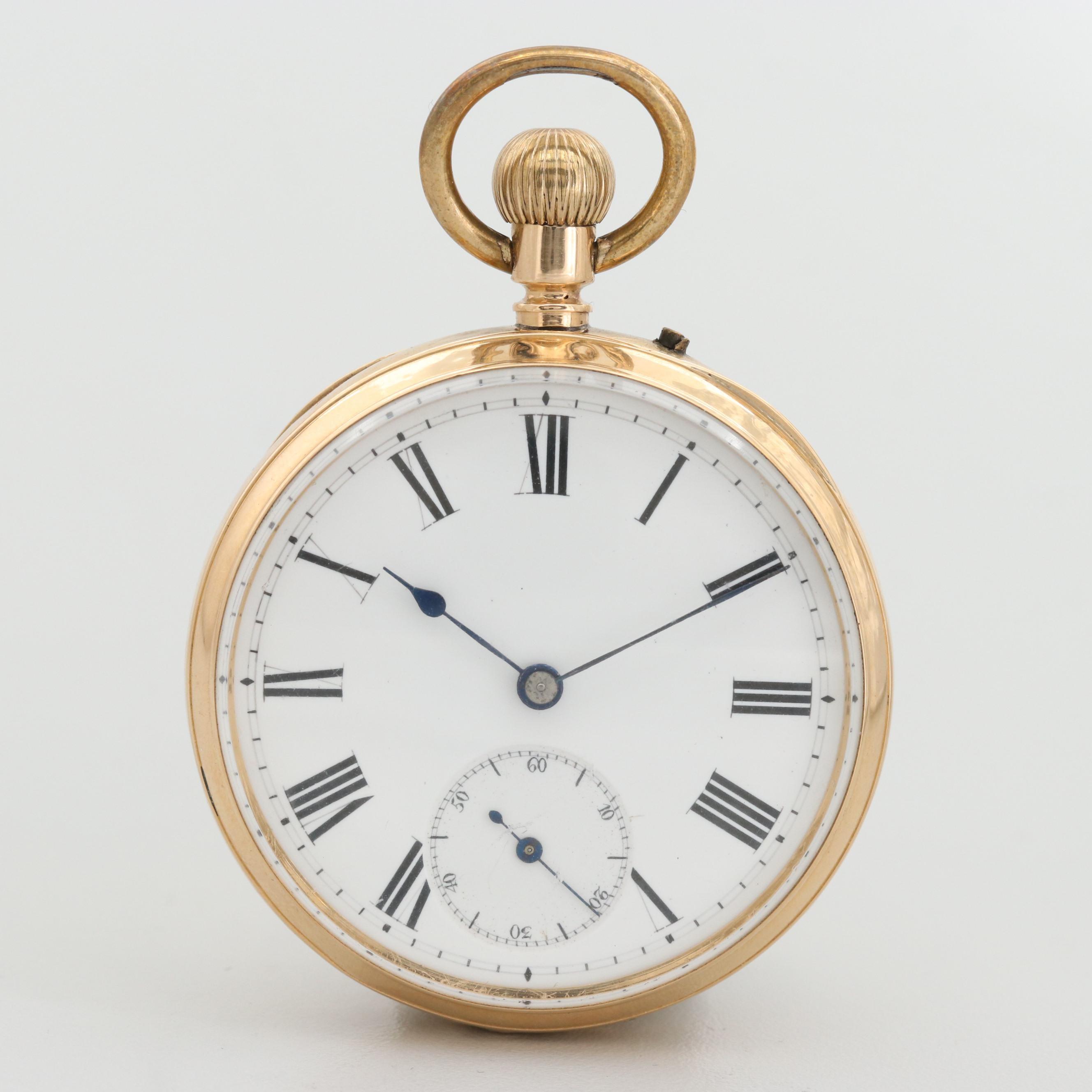 Antique 18K Yellow Gold Pin Set Open Face Pocket Watch