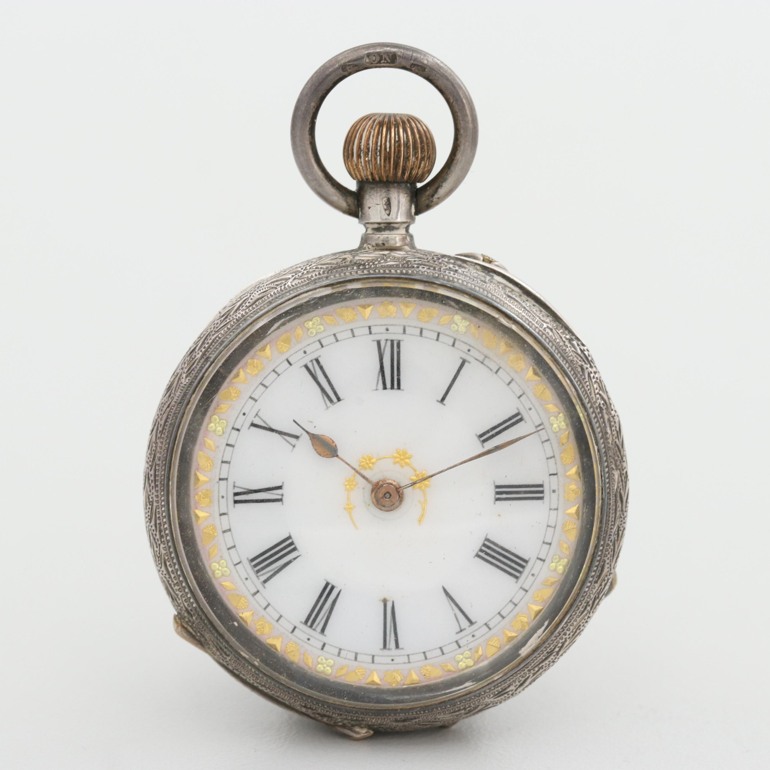 Antique S. Greenough & Sons 935 Silver Open Face Pocket Watch
