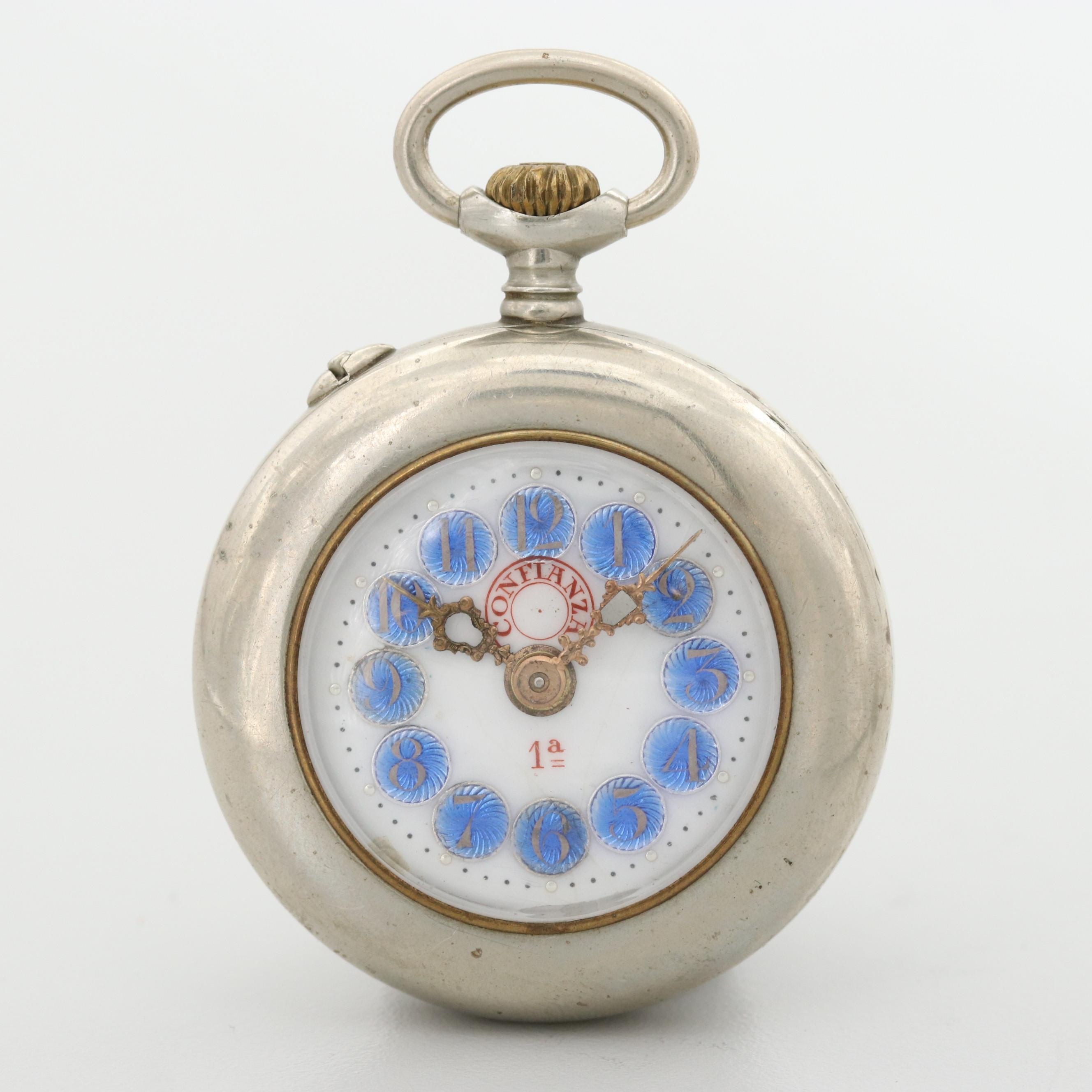 Antique Confianza 1a Nickel Open Face Pocket Watch With Porcelain and Enamel