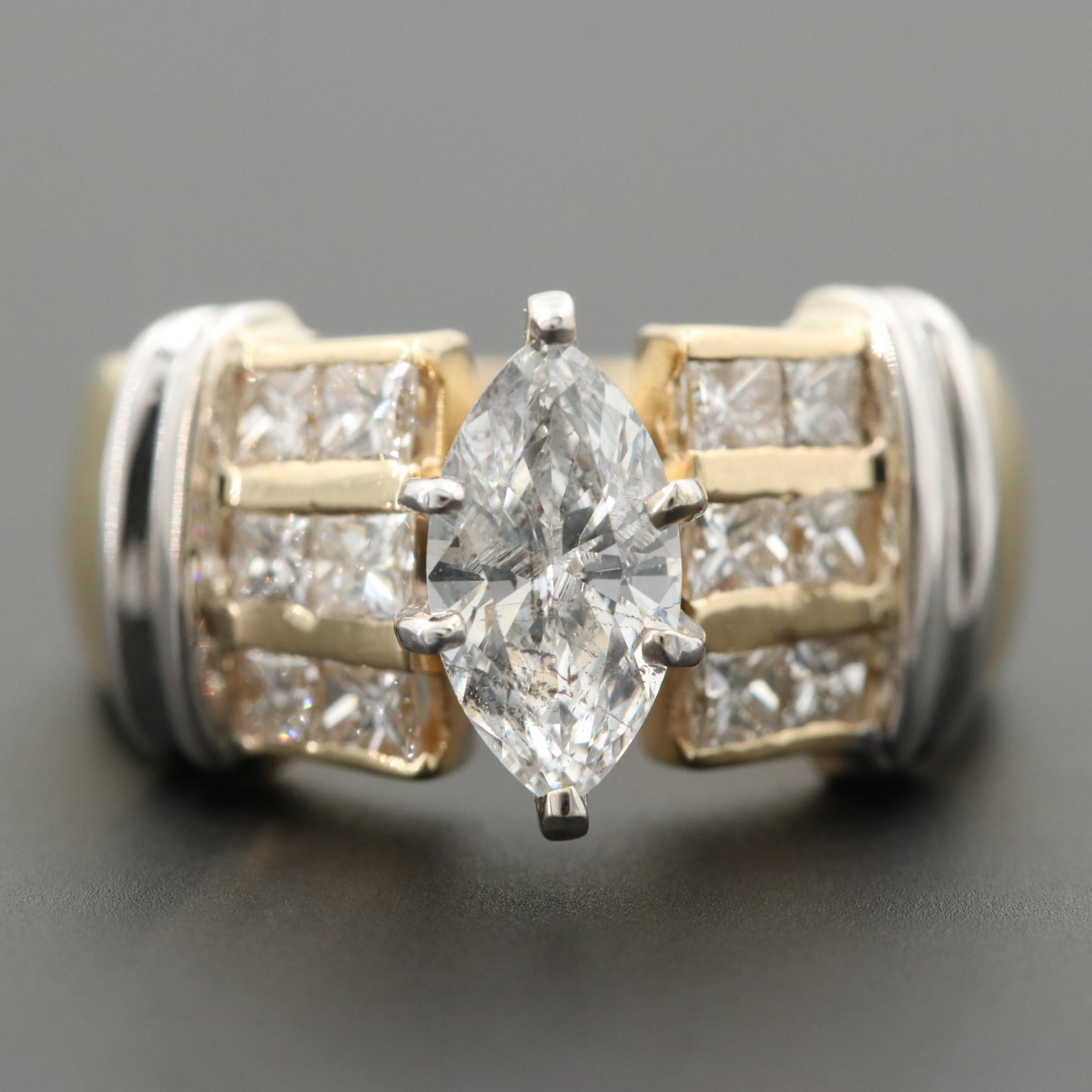 14K Yellow Gold 2.08 CTW Diamond Ring with 14K White Accents