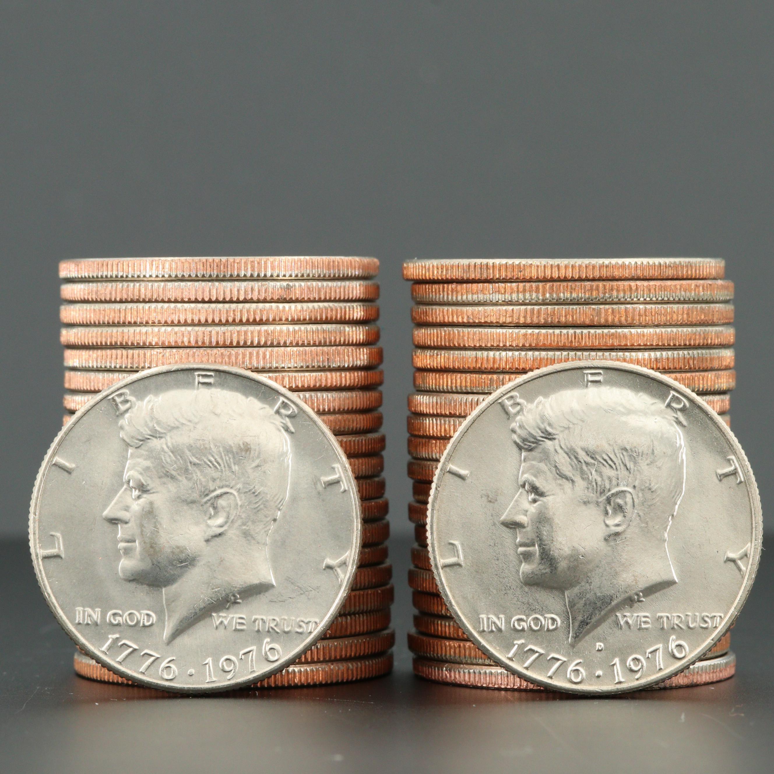 Two Rolls of 1976 JFK Bicentennial Half Dollars