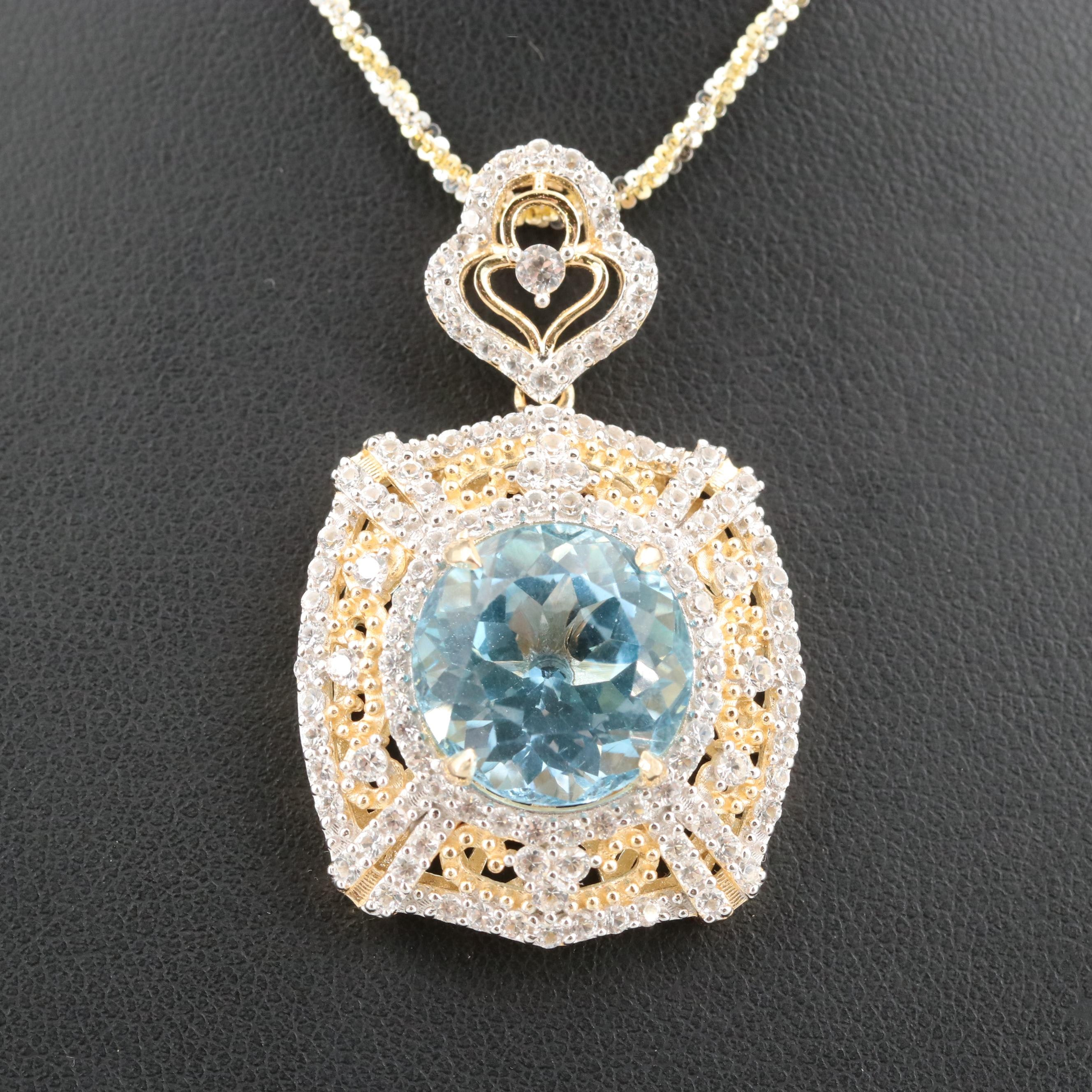 Gold Wash on Sterling Silver Blue and White Topaz Pendant Necklace