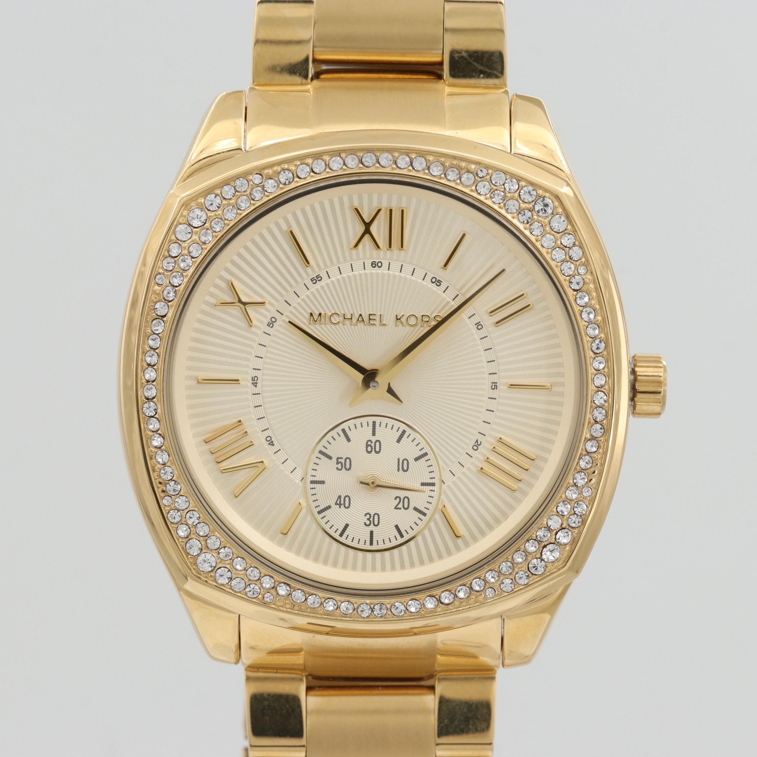 Michael Kors Bryn Gold Tone Quartz Wristwatch With Glass Crystal Bezel