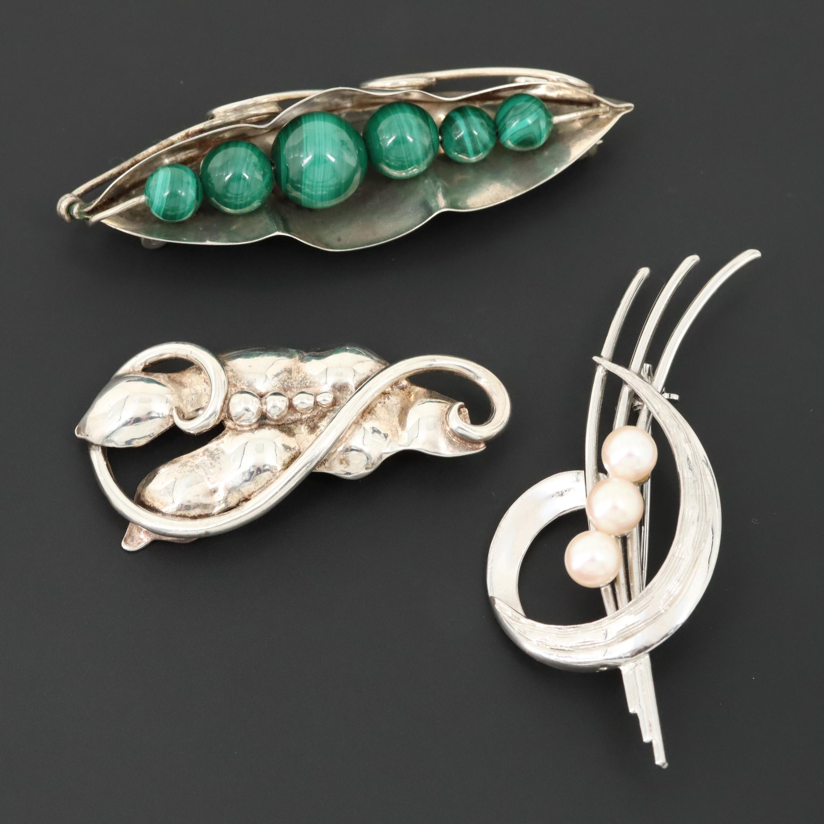 Vintage Sterling Silver Cultured Pearl and Malachite Brooches