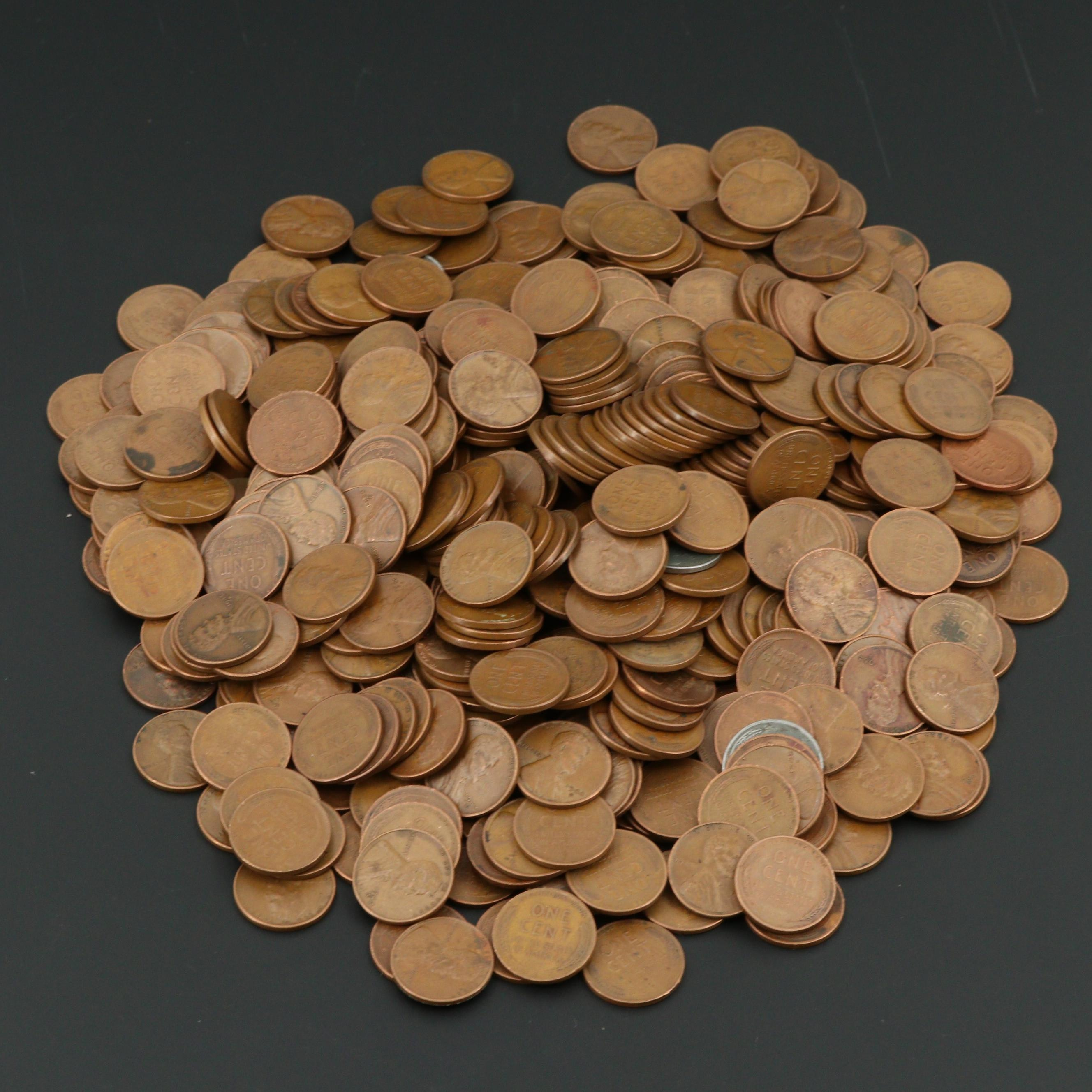 500 Various Lincoln Wheat Cents From The San Francisco Mint