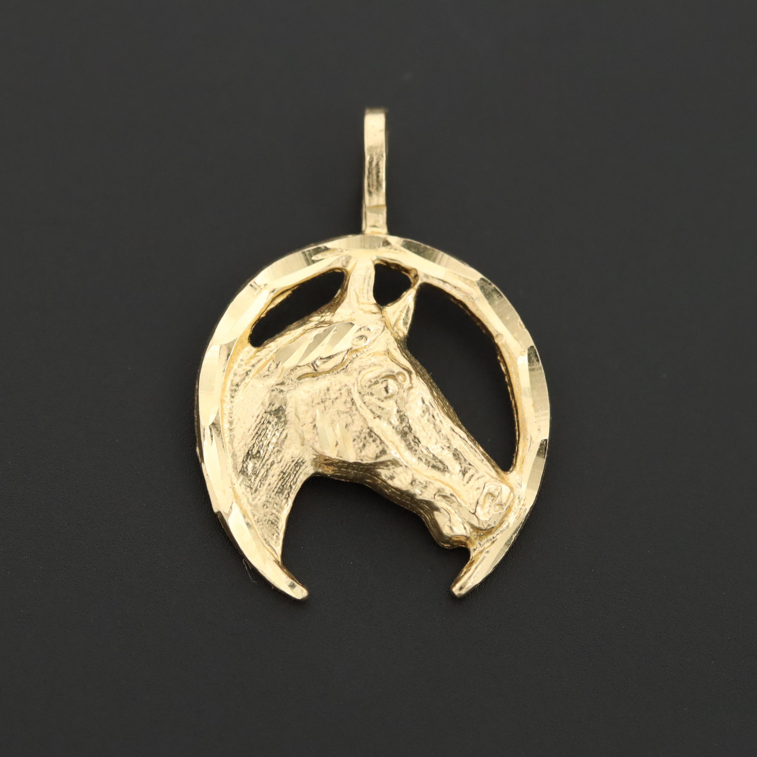 14K Yellow Gold Horse and Horseshoe Pendant