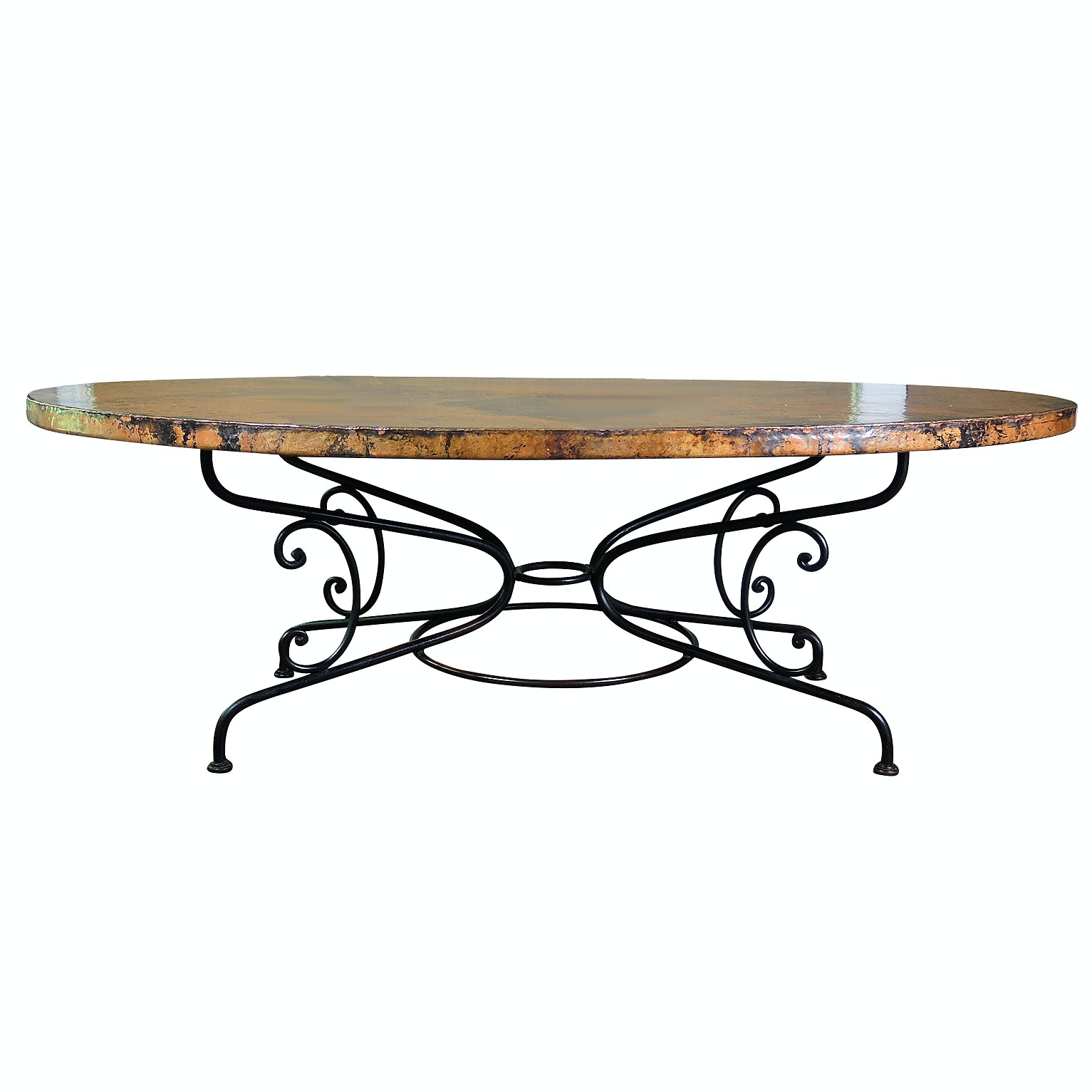 """Arhaus """"Arabesque"""" Hammered Copper Top and Scrolled Iron Dining Table"""