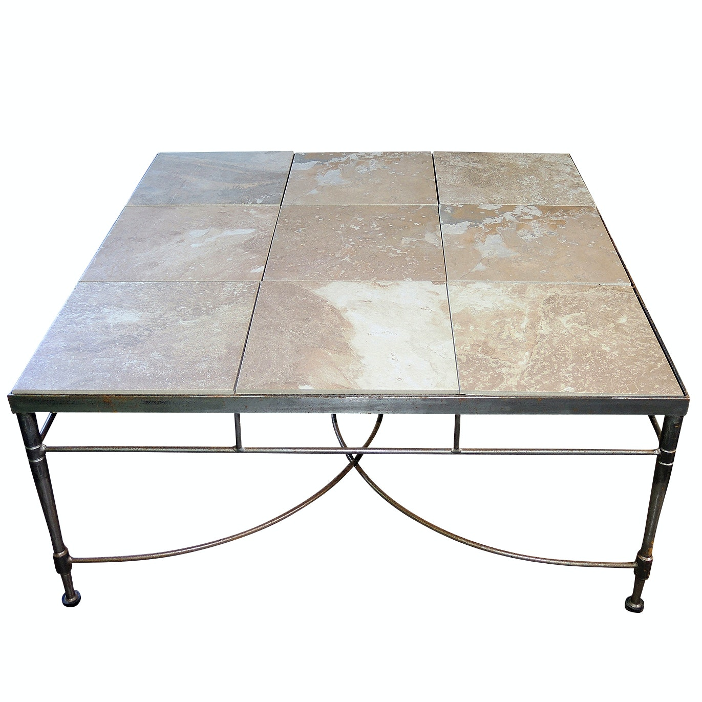 Arhaus Contemporary Stone-Finish Tile Top, Metal Base Coffee Table