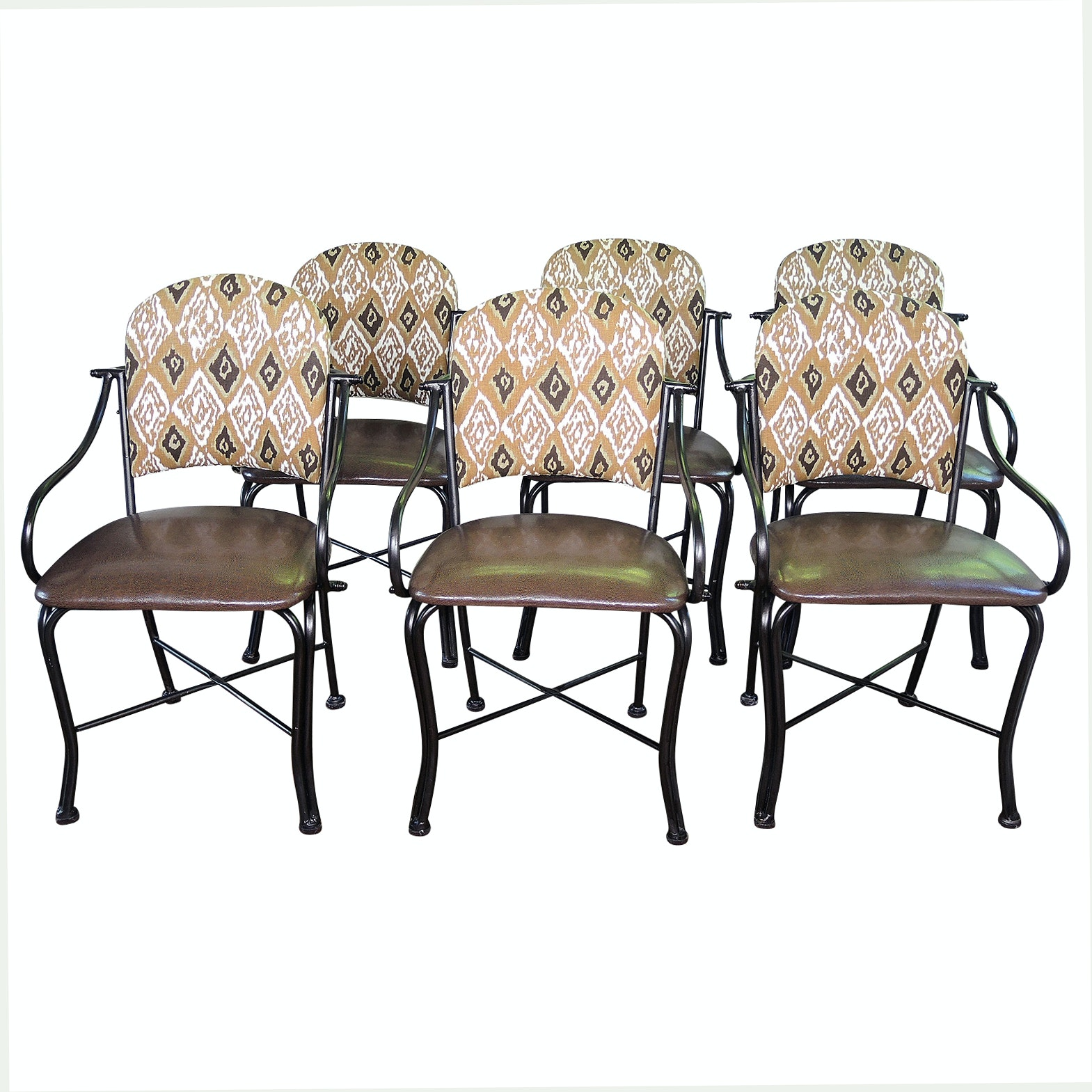 Six Contemporary Metal Framed Upholstered Dining Chairs