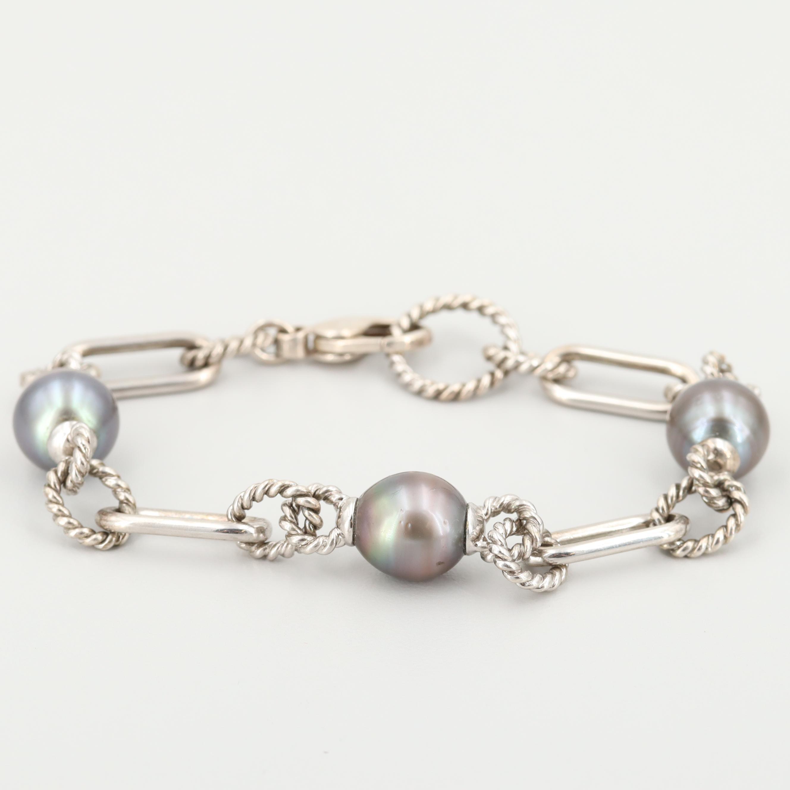 Sterling Silver Cultured Pearl Bracelet