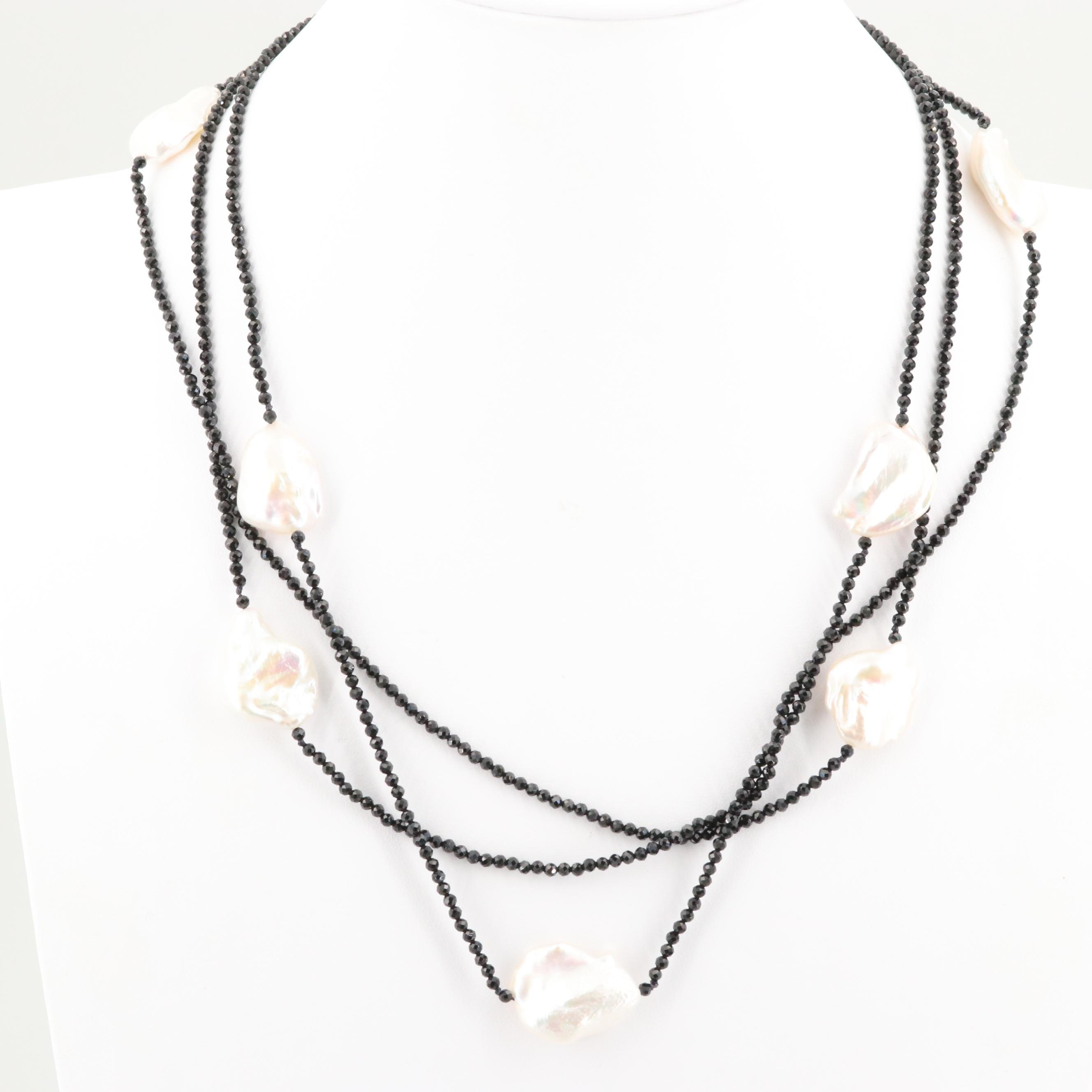 Triple Strand Cultured Pearl and Glass Necklace