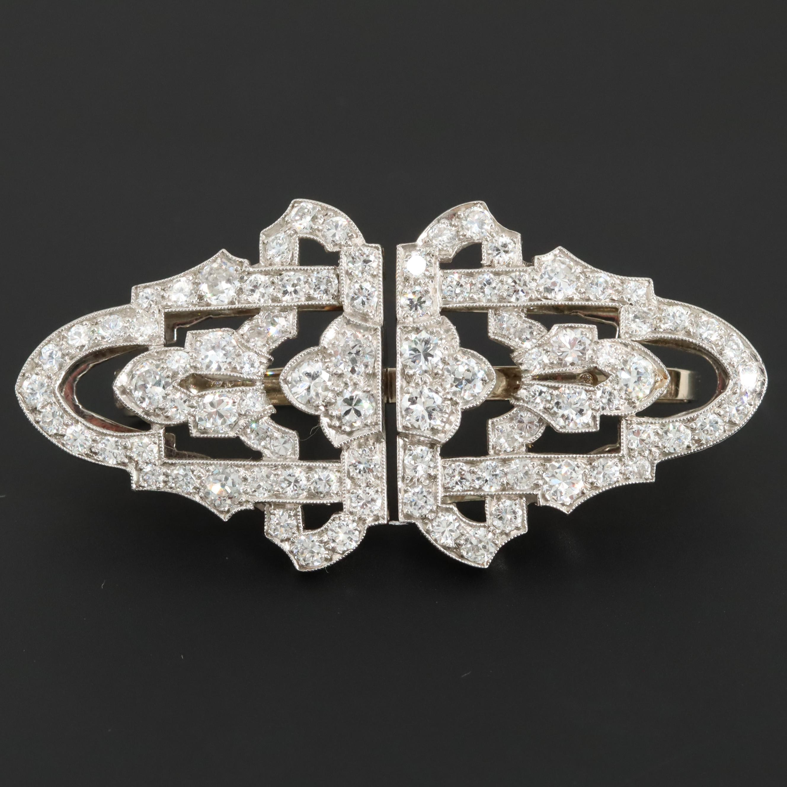 Art Deco 18K, 14K and Platinum 3.45 CTW Diamond Convertable Duette Dress Clip