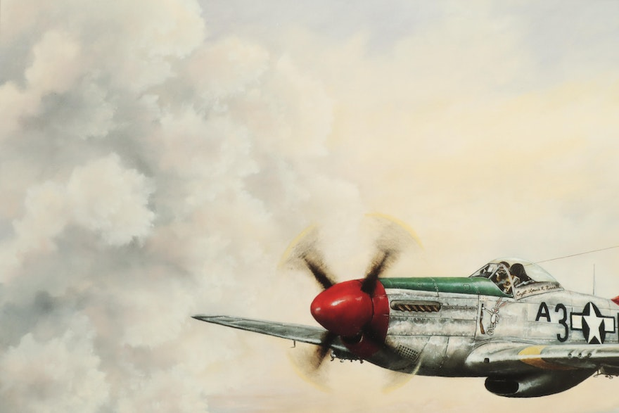"David Lee Sample Giclee ""Red Tail Angel"" Signed By Pilot"