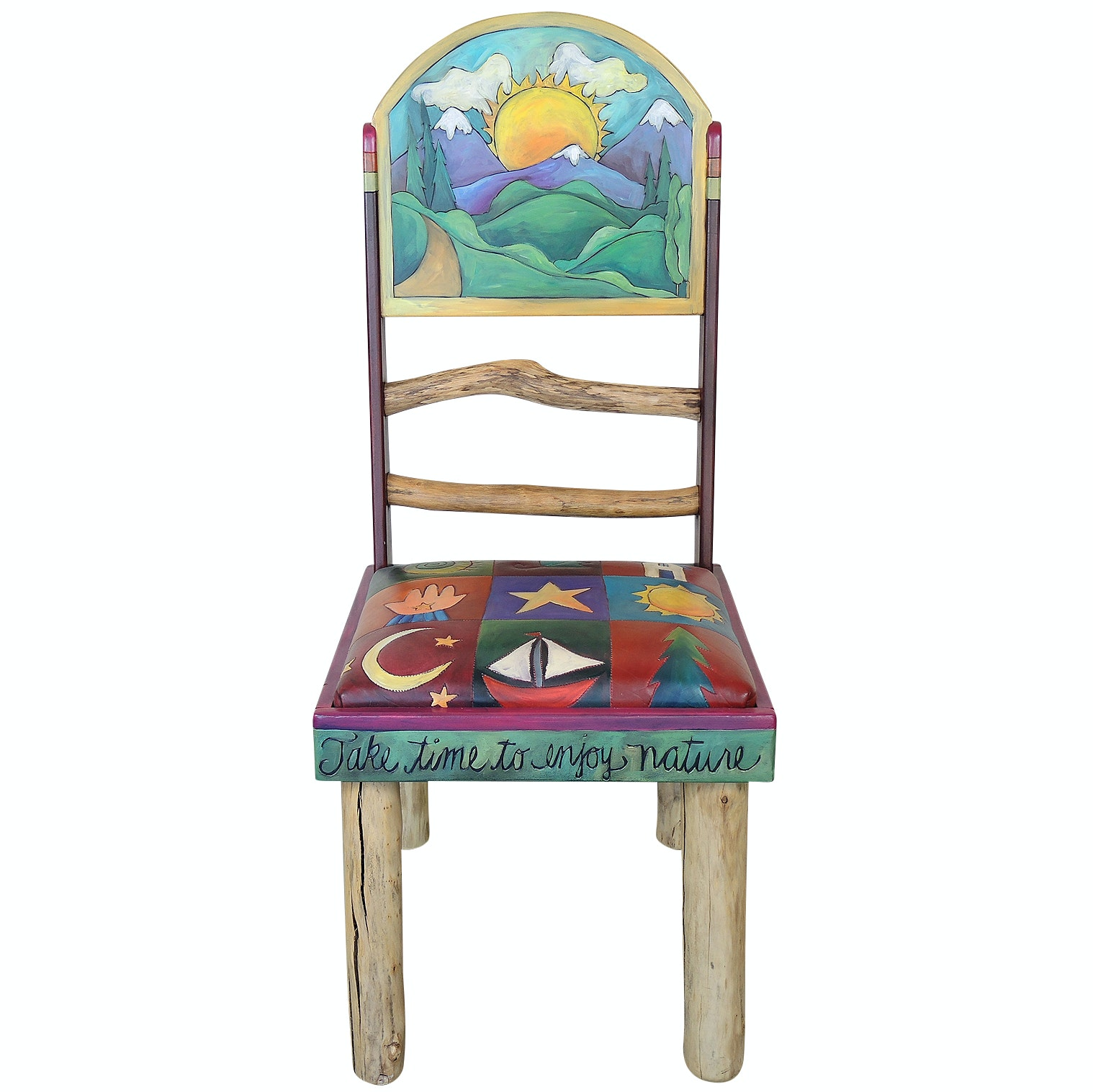 Sticks Carved and Painted Wooden Side Chair with Embellished Leather Seat