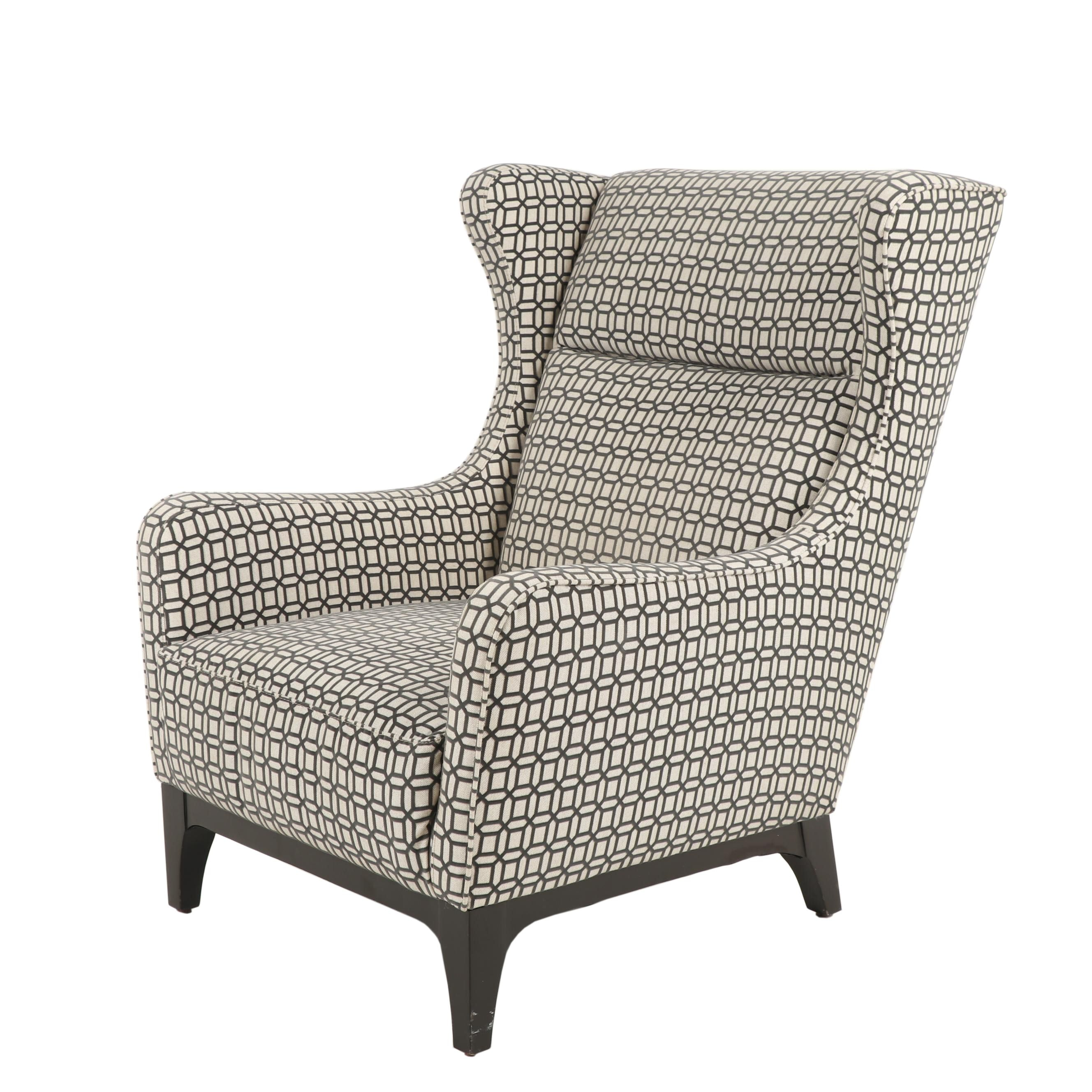 Contemporary Wingback Chair with Graphite Velour Raised Pattern Upholstery