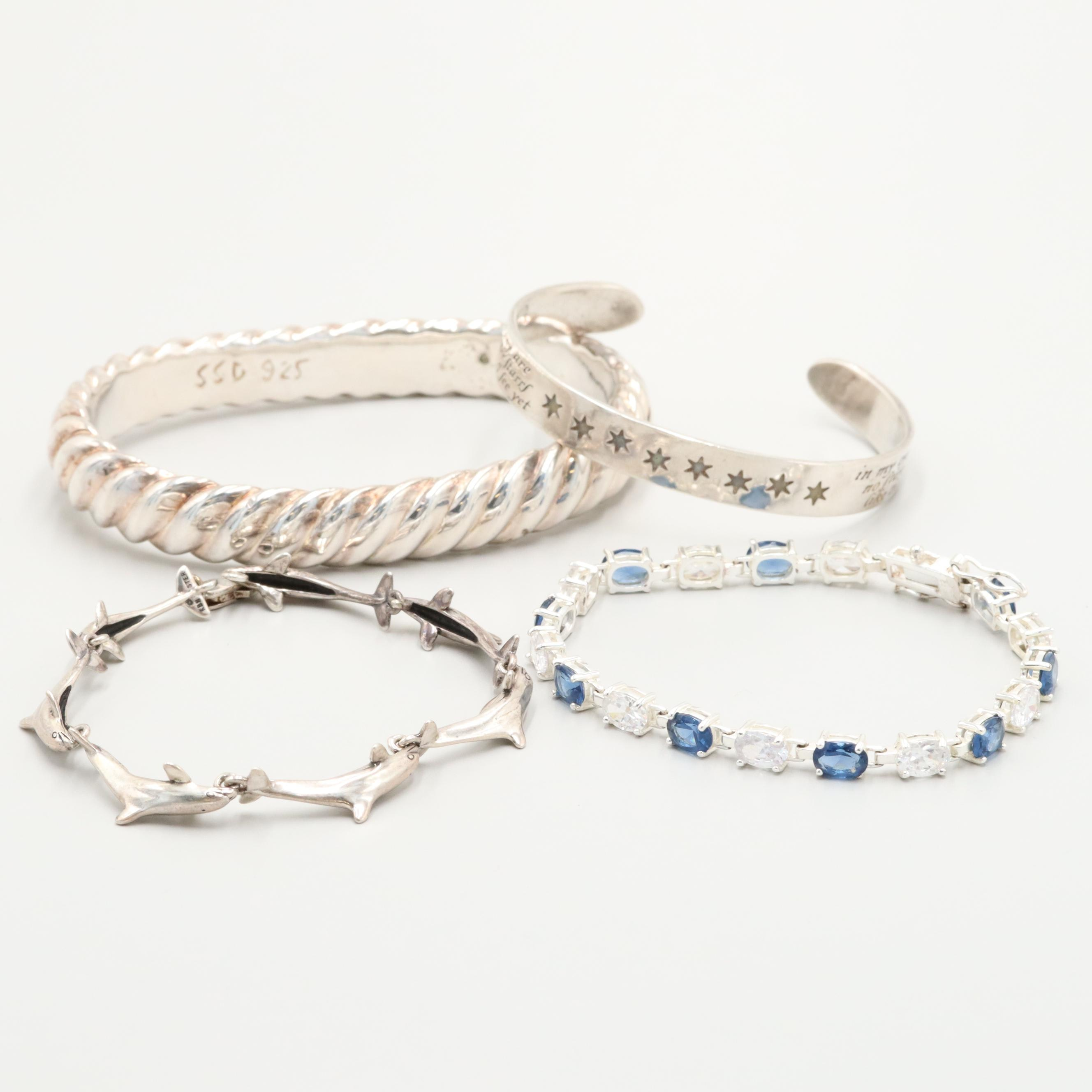 Sterling Silver Bracelets with Simon Sebbag Including Cubic Zirconia