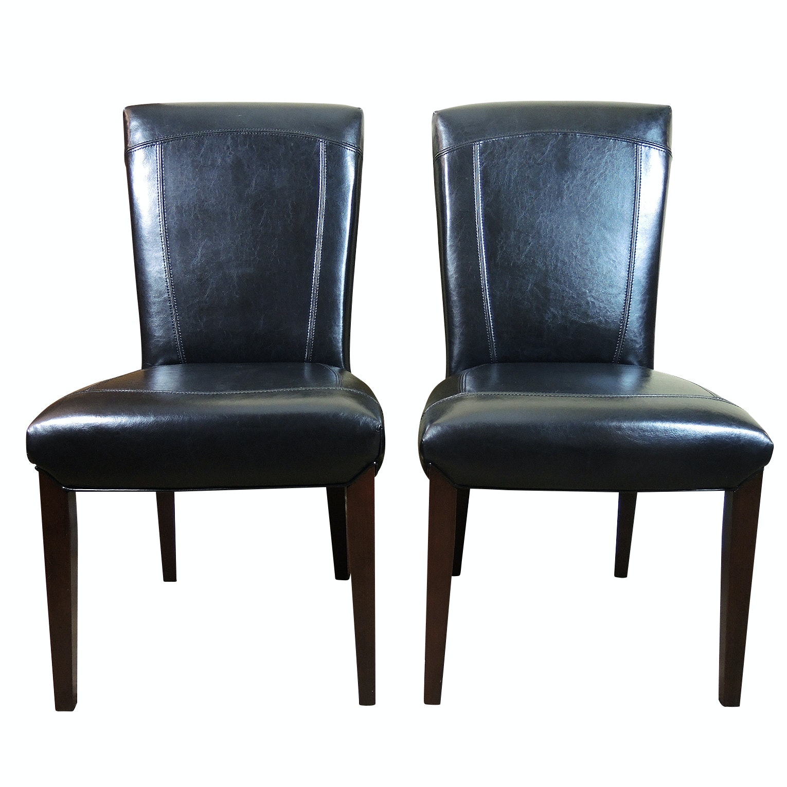 Pair of Contemporary Leather Upholstered Parson's Chairs