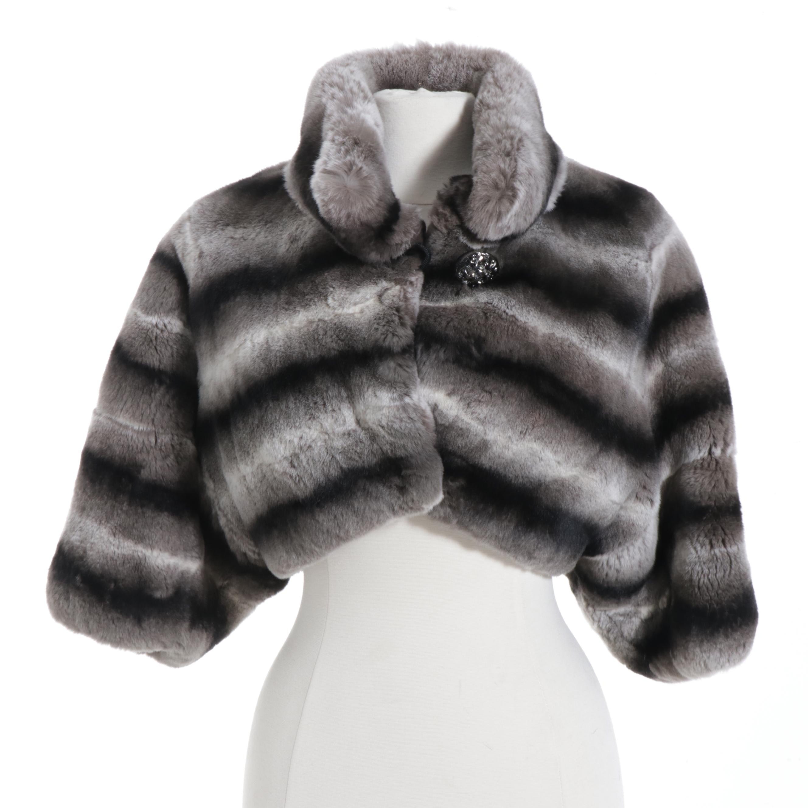 Chinchilla Dyed Sheared Rex Rabbit Fur Shrug Jacket