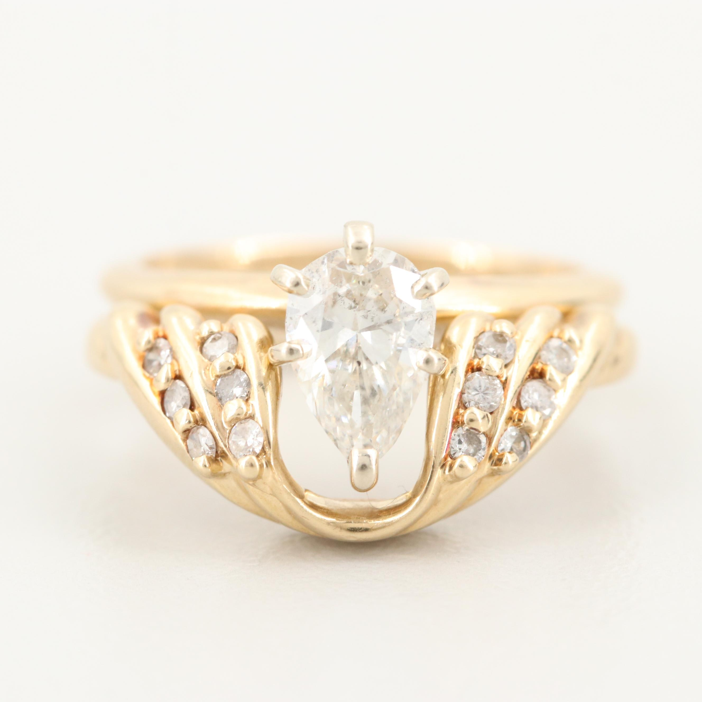 14K Yellow Gold Diamond Ring and Enhancer Ring