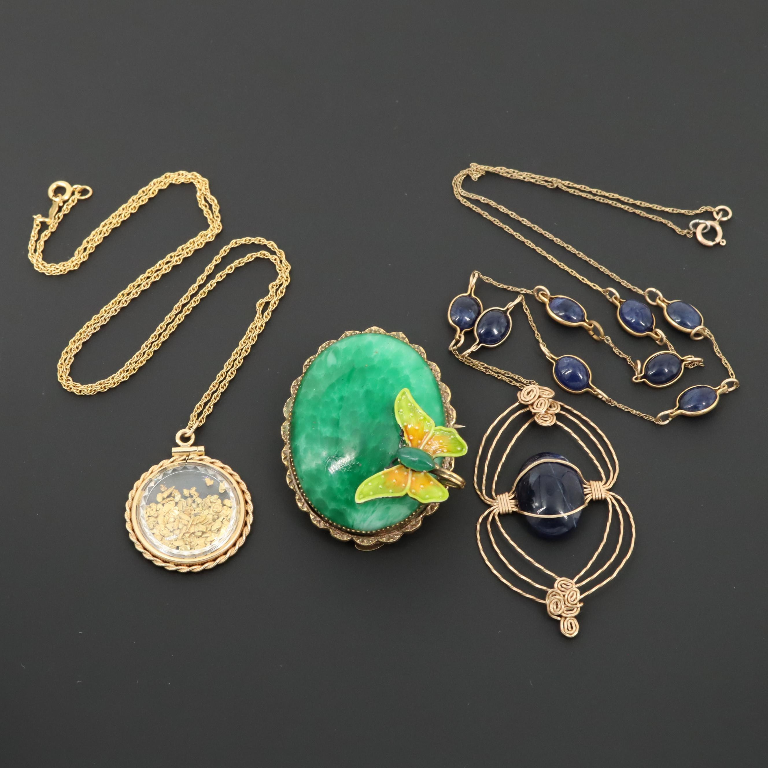 Sodalite and Glass Pendant Necklaces and Original By Robert Converter Brooch