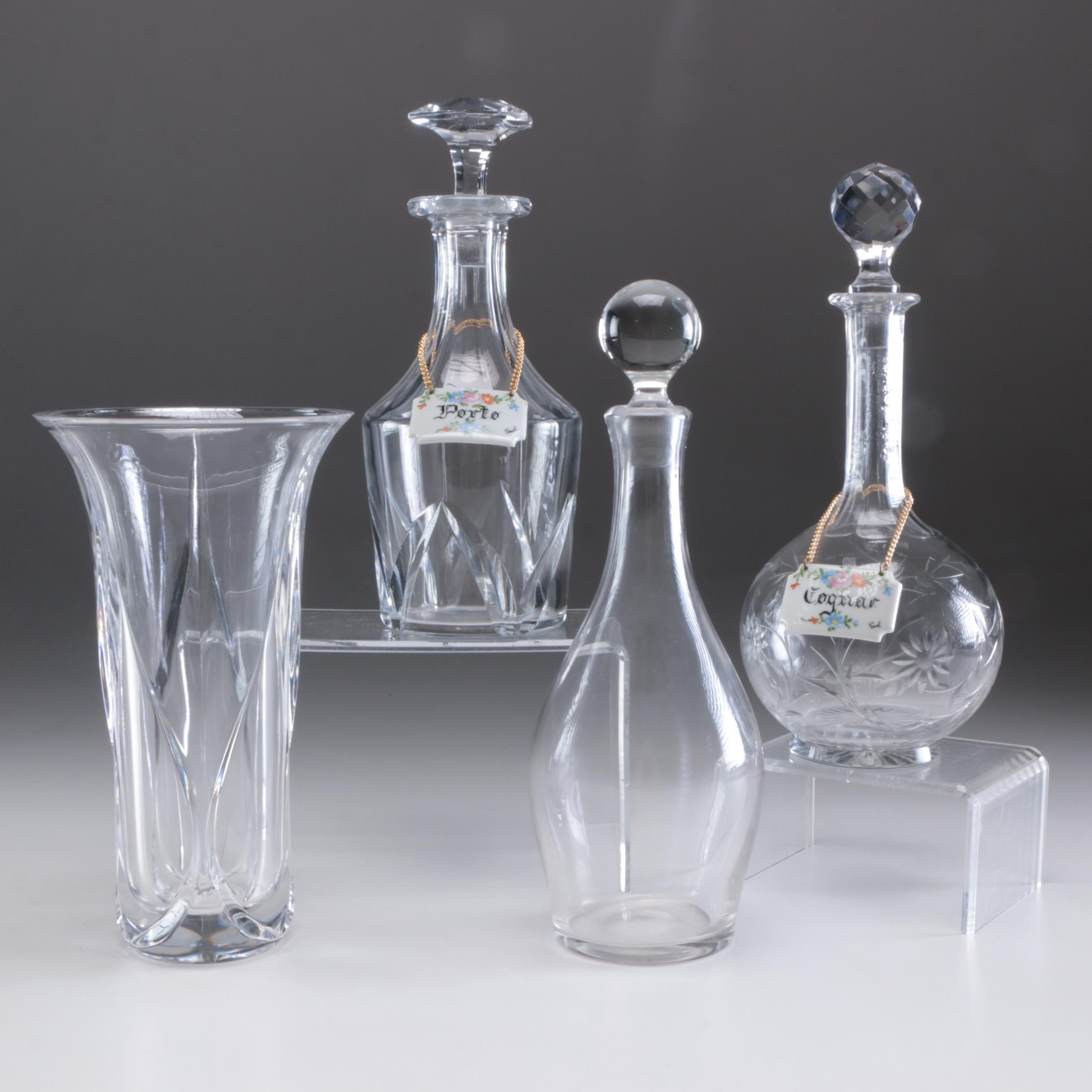 Baccarat Crystal Decanter, Glass Decanters and Nachtmann Crystal Vase