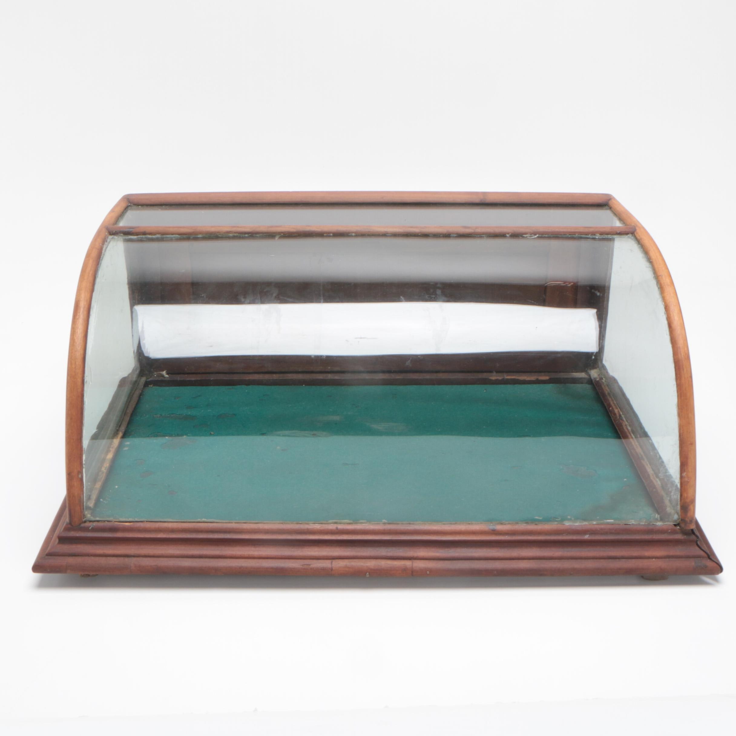 Counter Display Case with Curved Glass Front, 1920s