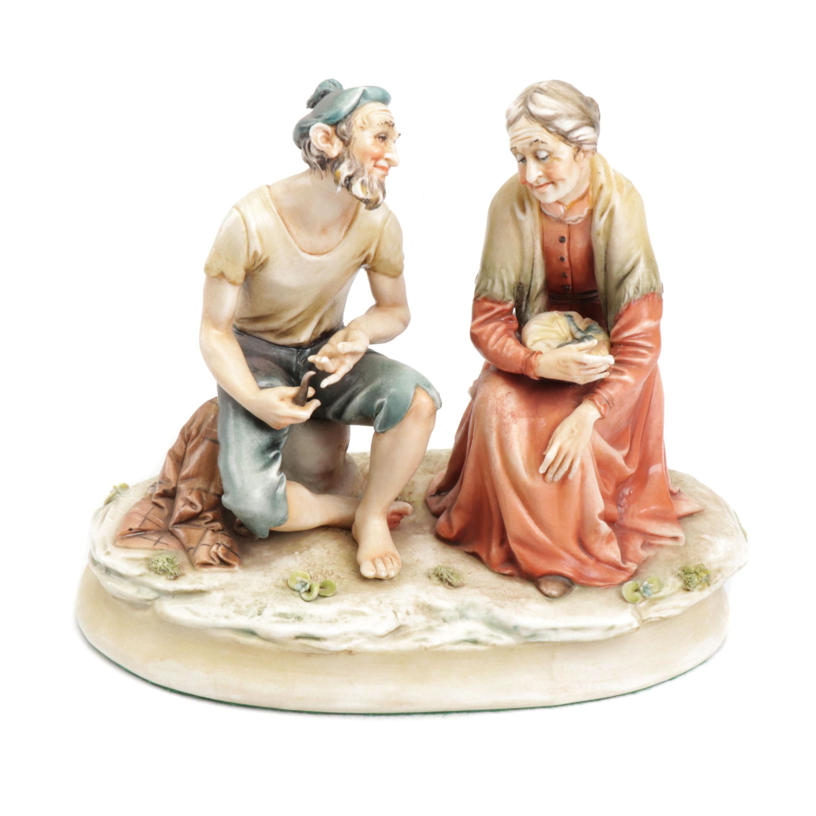 Antonio Borsato Porcelain Figurine of Seated Figurines