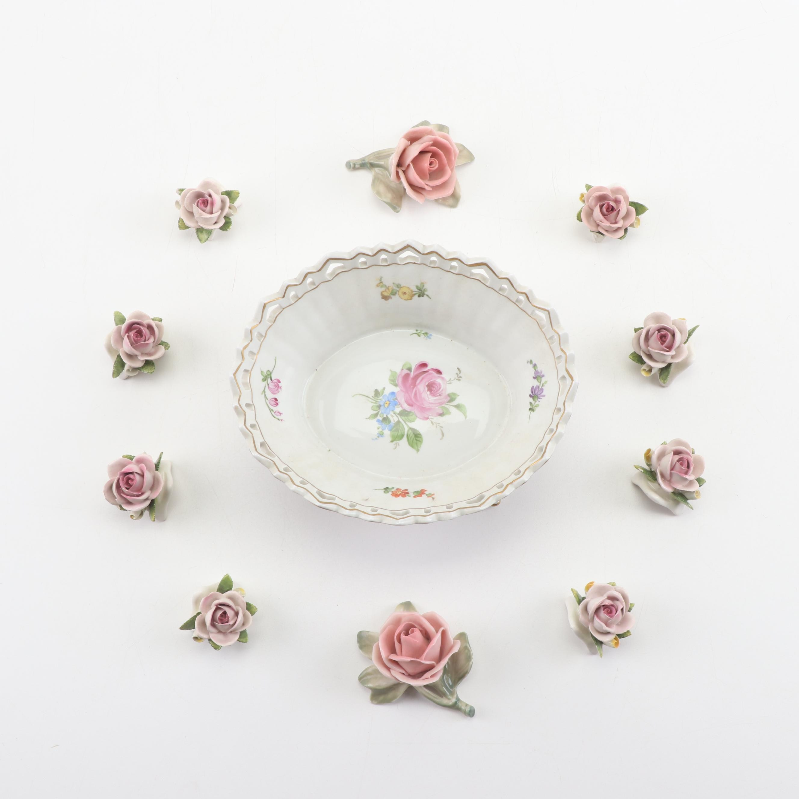 Porcelain Reticulated Bowl with Roses, Late 19th to Early 20th Century