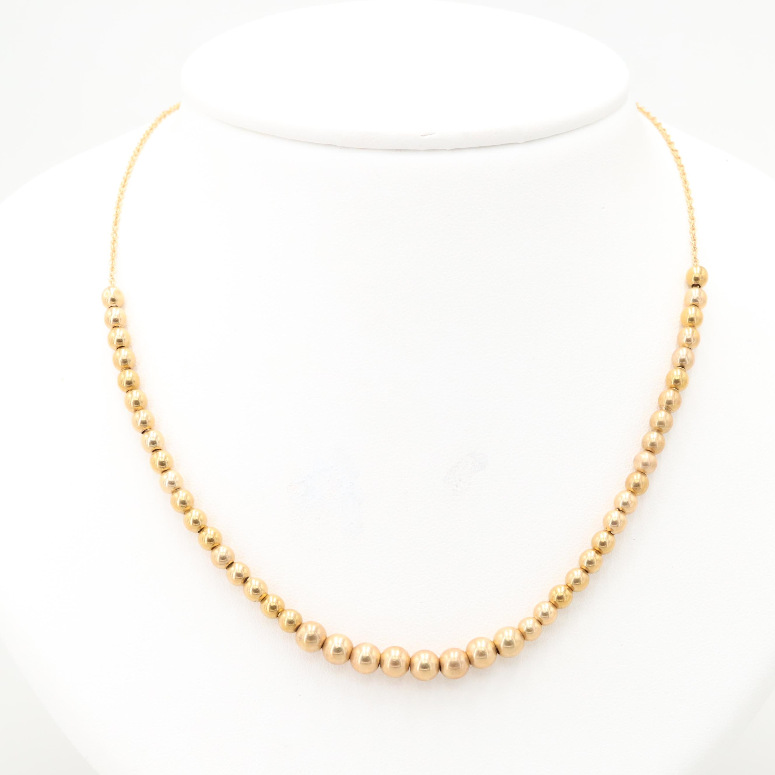14K Yellow Gold Beaded Chain Necklace