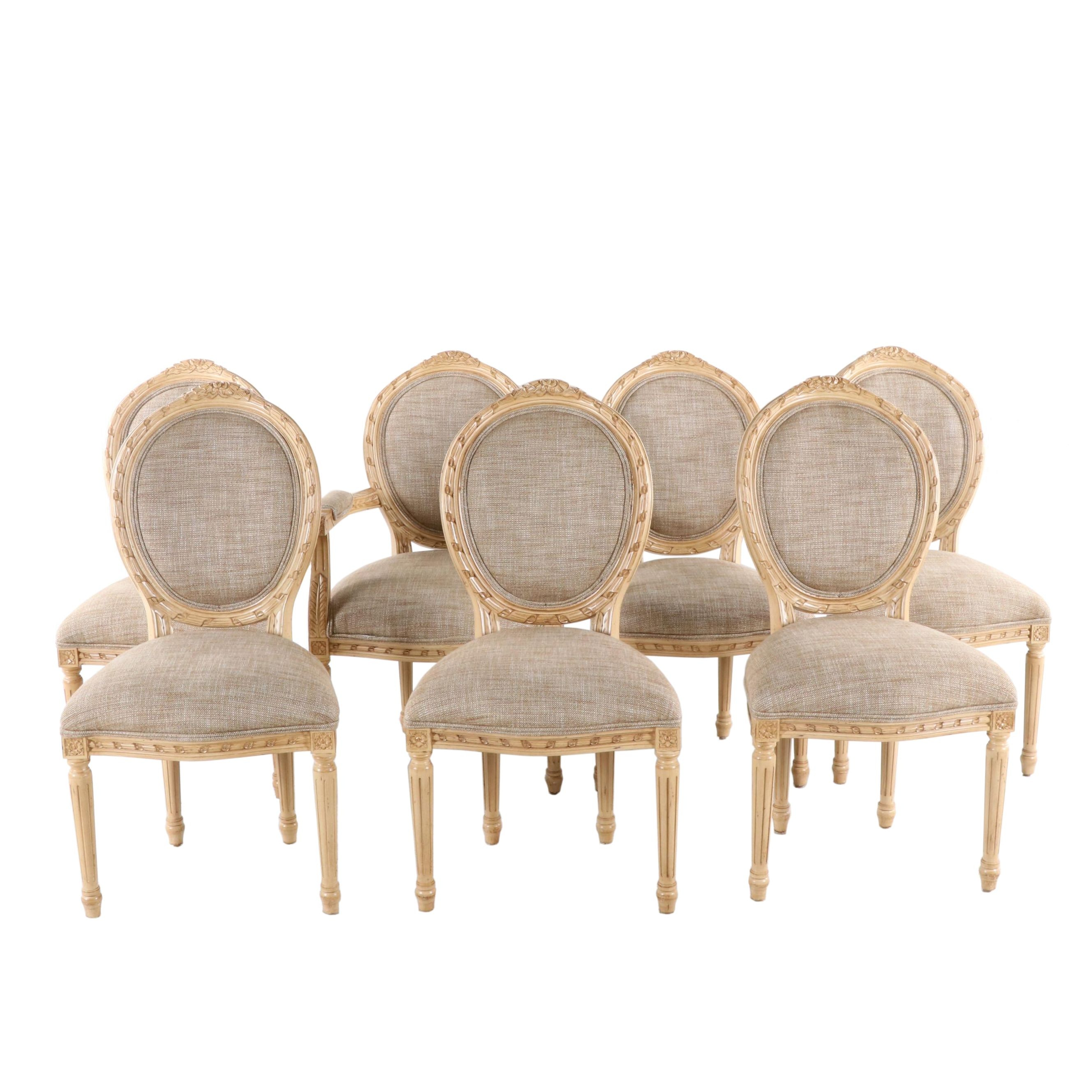 Seven Pama Furniture Louis XVI Style Painted Wooden Upholstered Dining Chairs