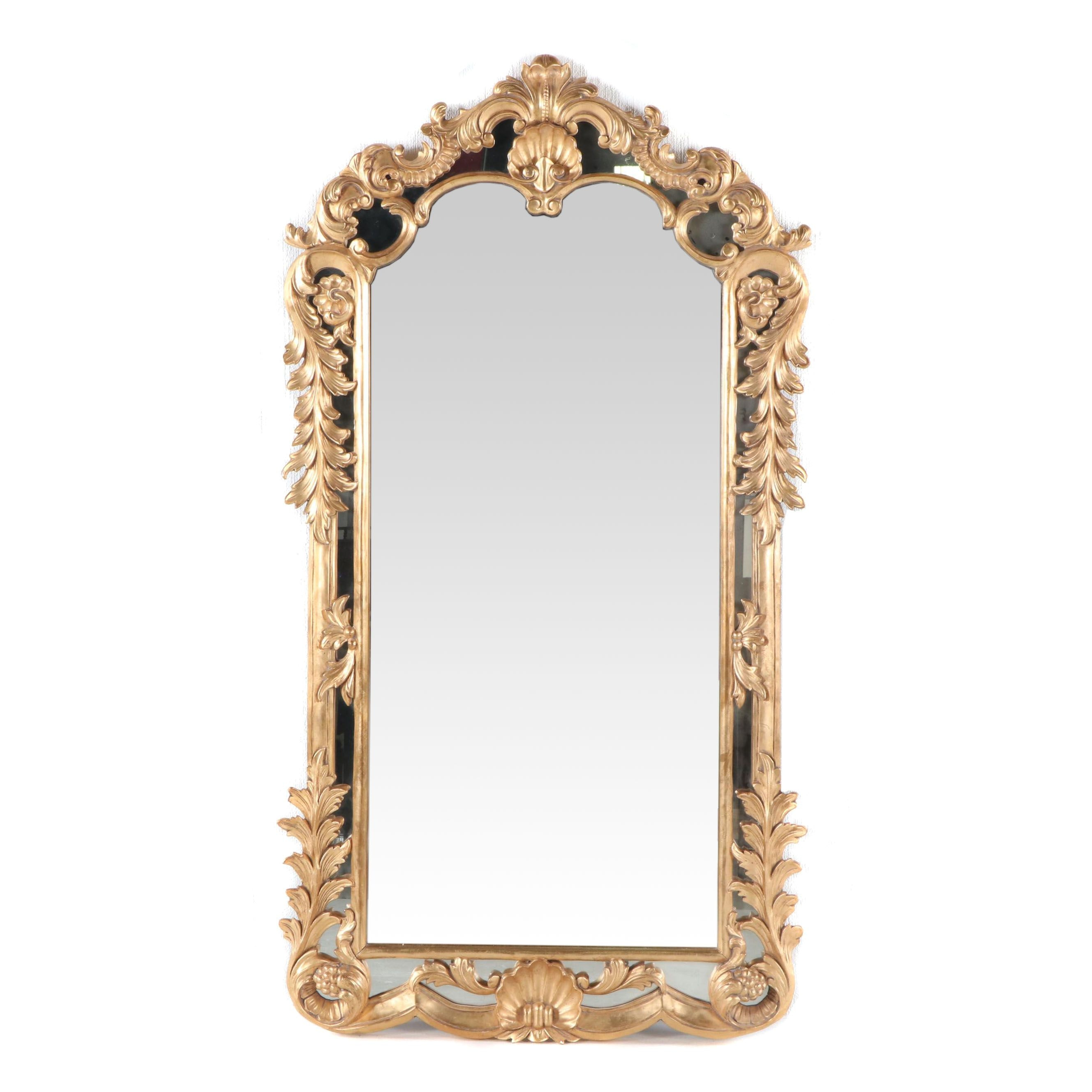 Large Baroque Style Gold Tone Accent Mirror with Rocialle Decoration