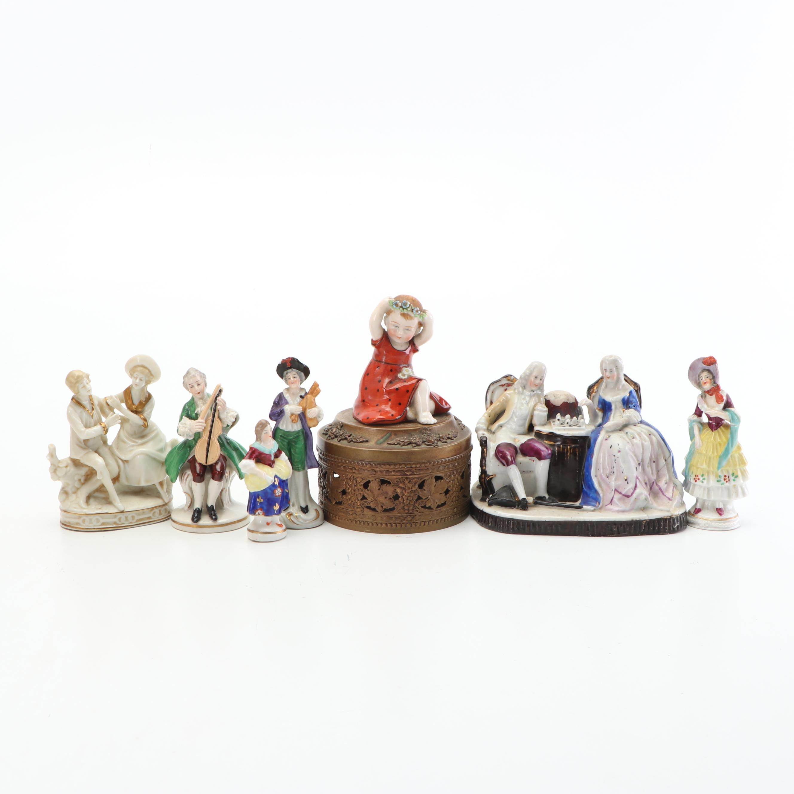 Open Work Trinket Box with Porcelain Figurines