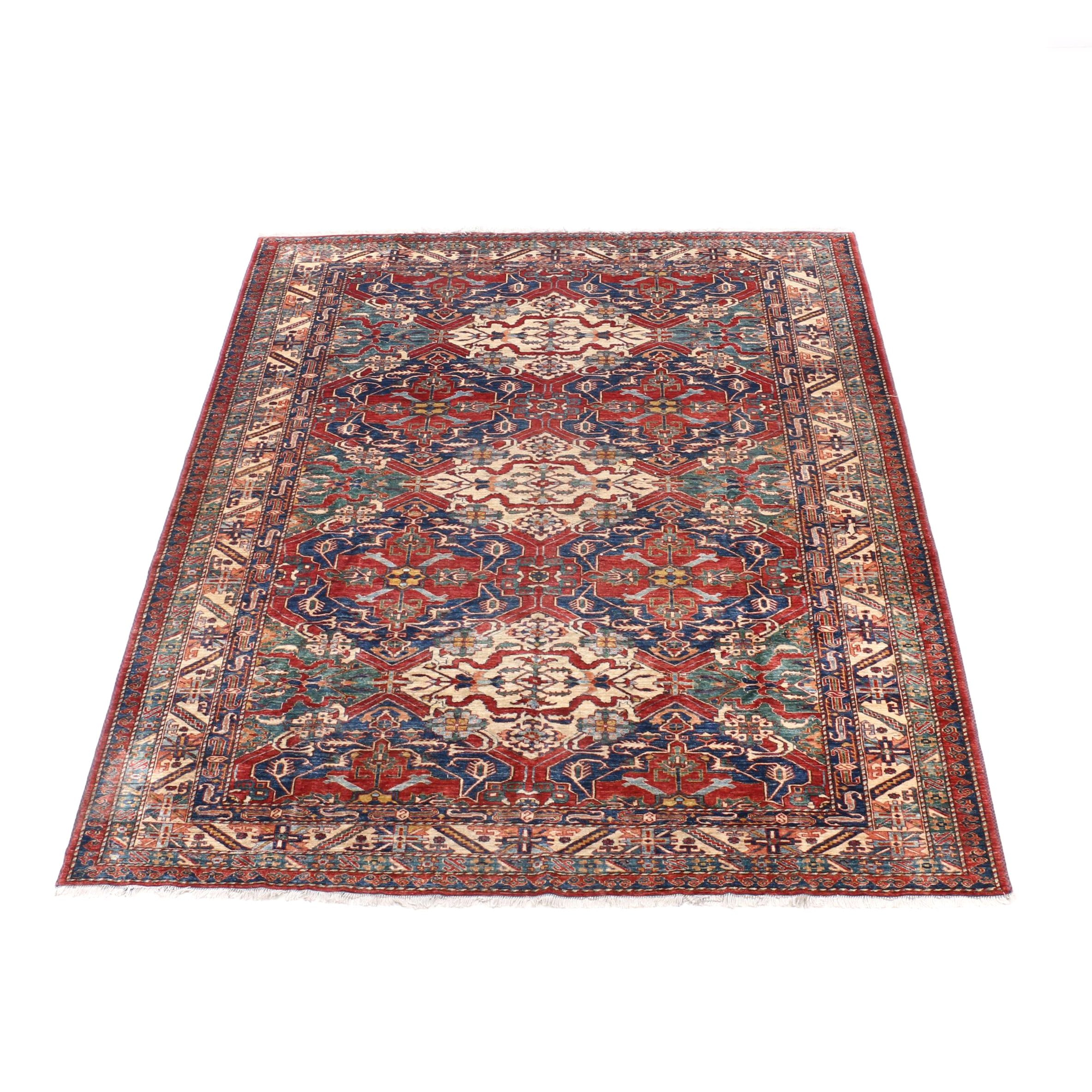 Hand-Knotted Karabagh Chondoresk Type Wool and Silk Room Sized Rug