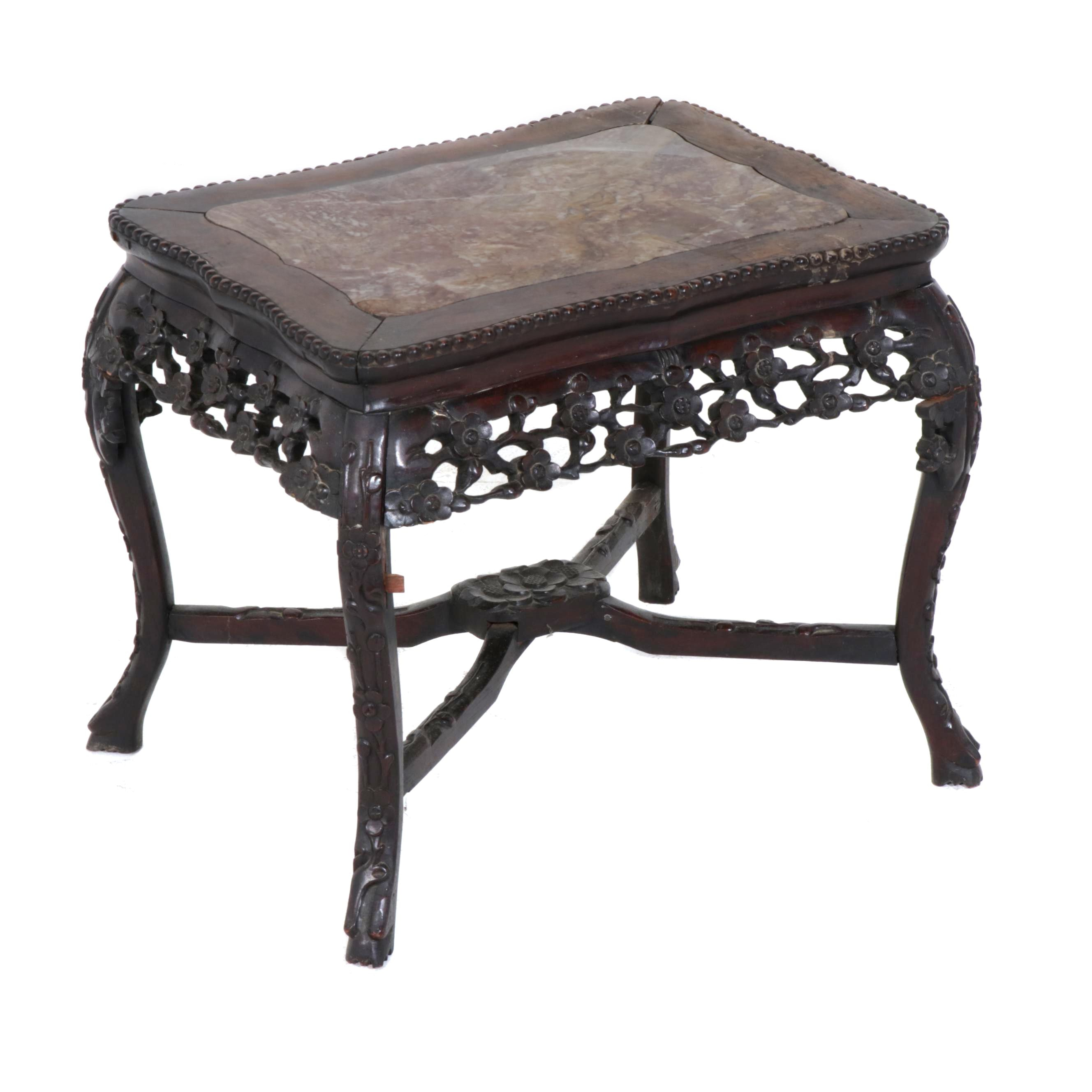 Chinese Carved Rosewood and Marble Top Stand, Late 19th Century