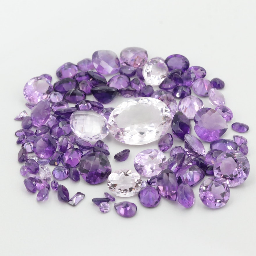 Loose 150.14 CTW Mixed Cut Faceted Amethyst Gemstones
