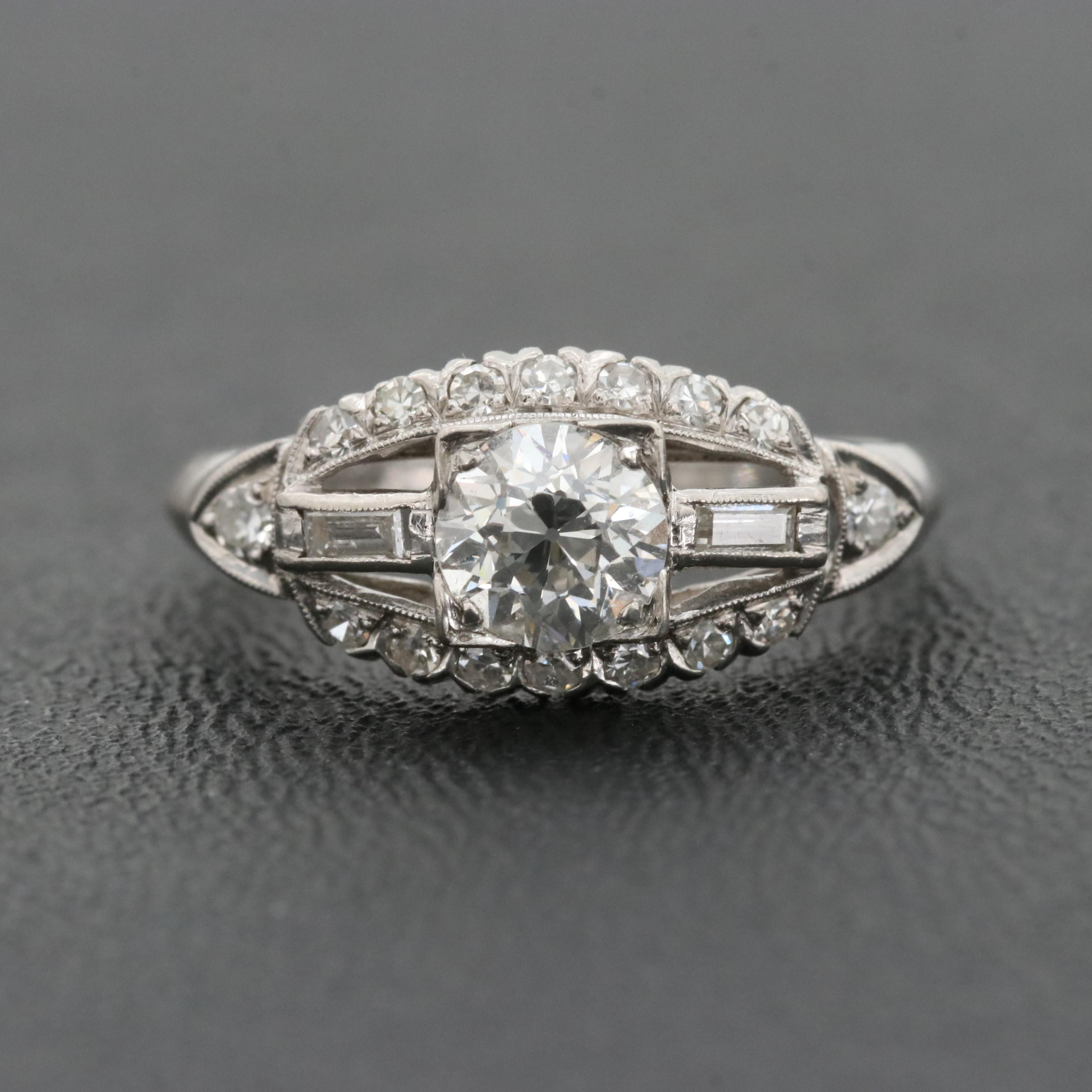 Platinum and Palladium Diamond Ring