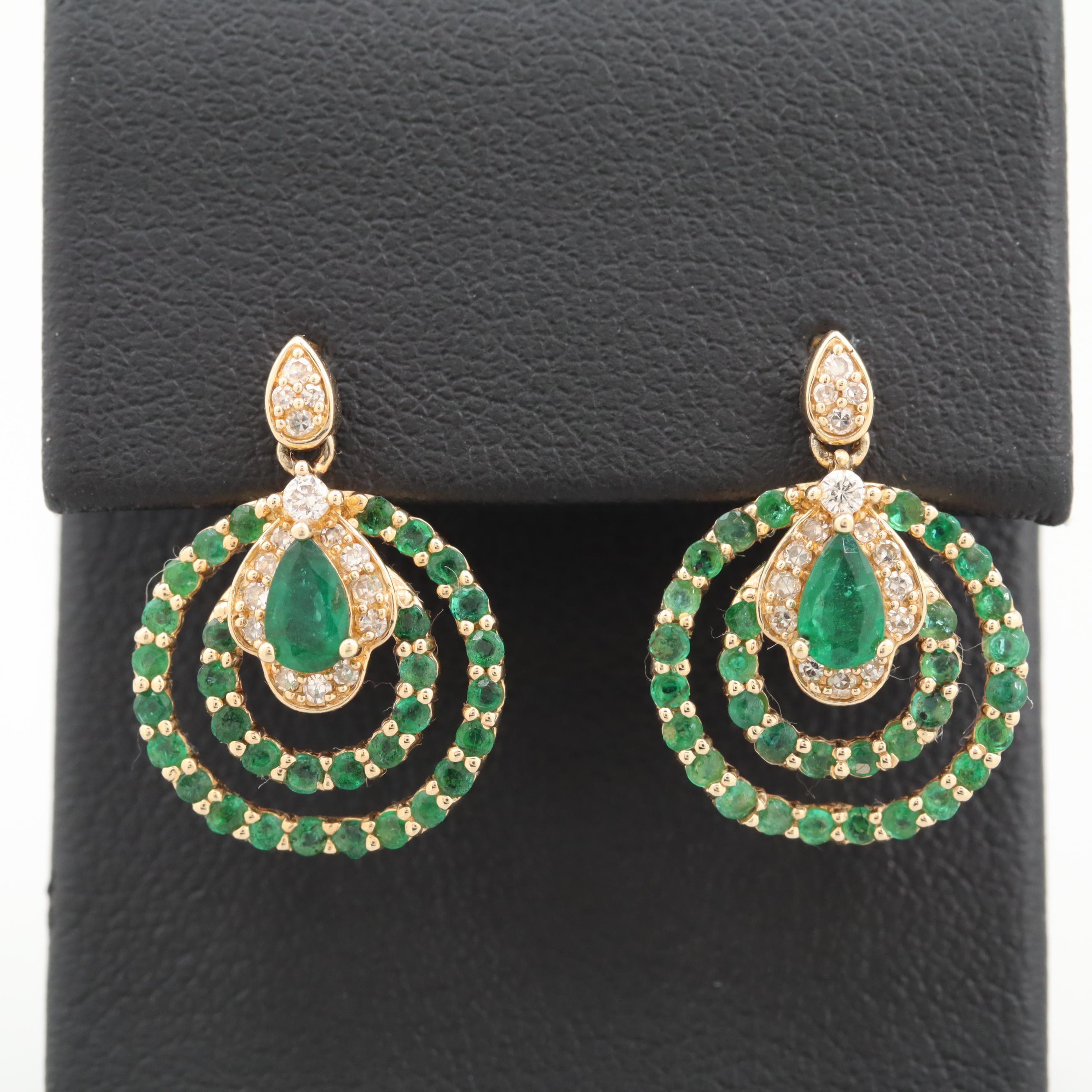 14K Yellow Gold Emerald and Diamond Dangle Earrings