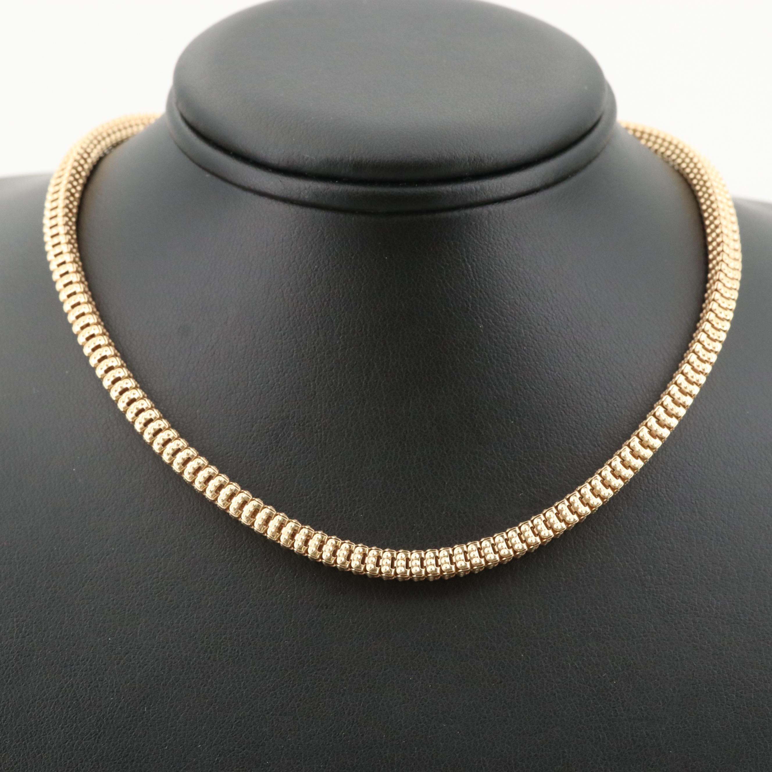 Italian 14K Yellow Gold Fancy Link Box Chain Necklace