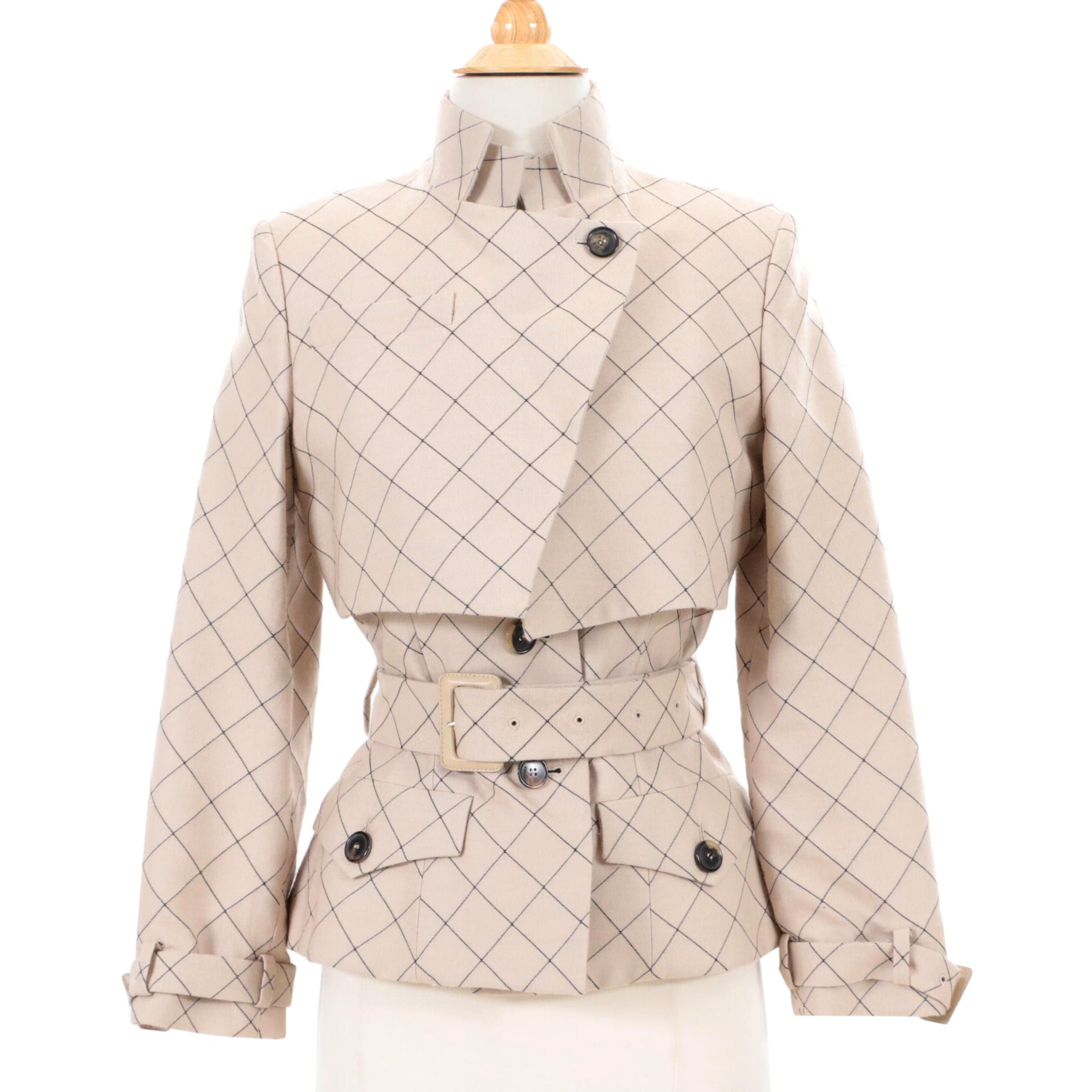 Christian Dior Paris Windowpane Print Wool Blend Jacket