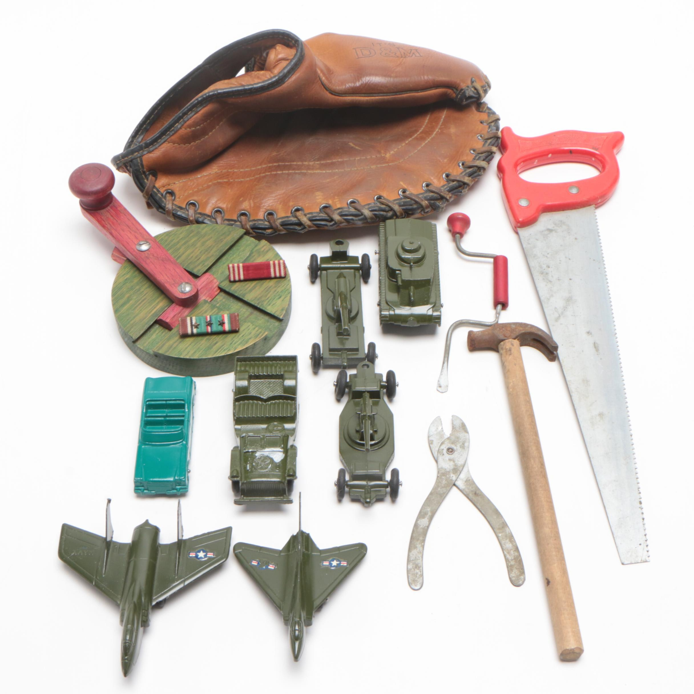 Tootsietoys Miniature Military Vehicles, D&M Baseball Glove, and Tools