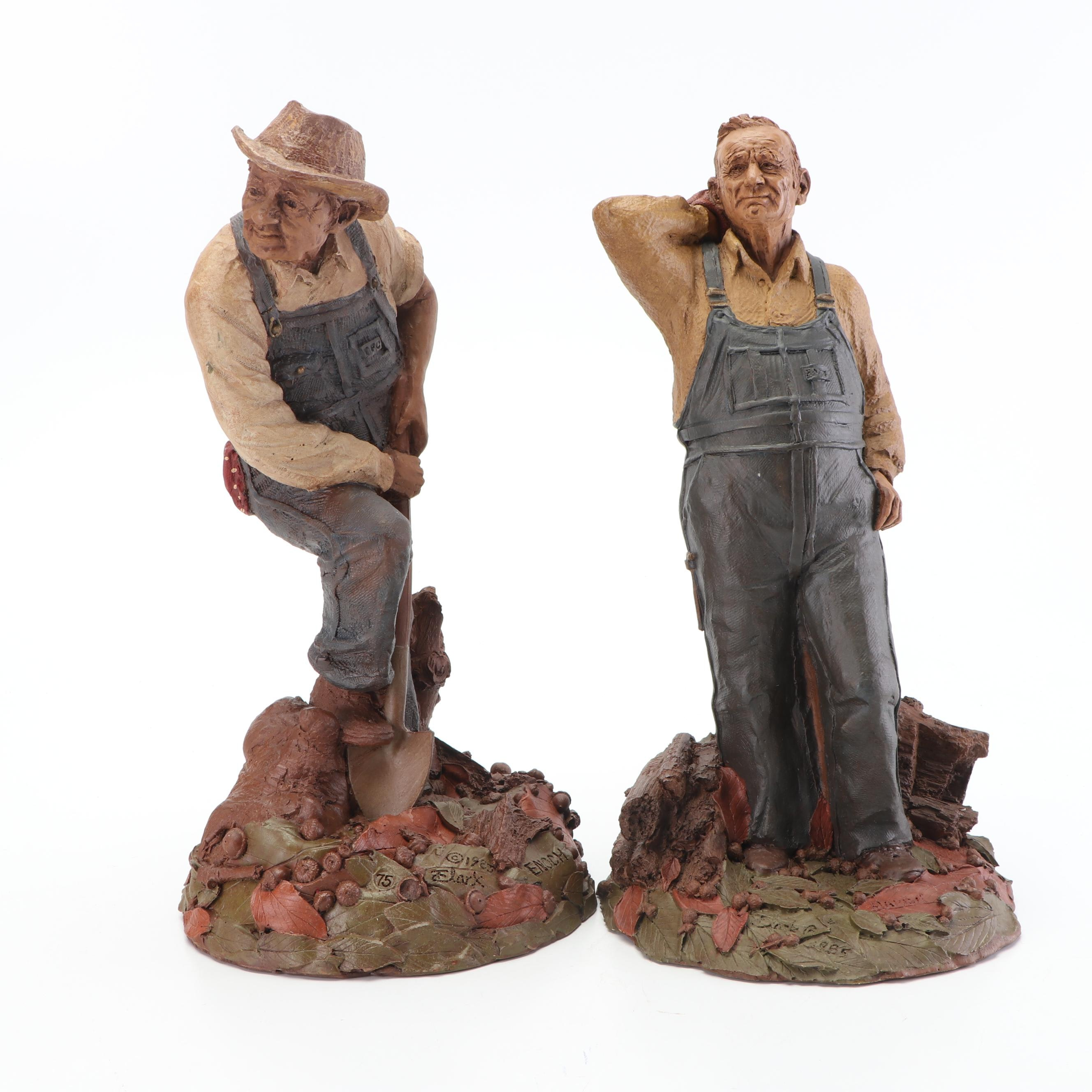 "Tom Clark ""Enoch"" and ""Marlin"" Pecan Resin Figurine, Circa 1980s"