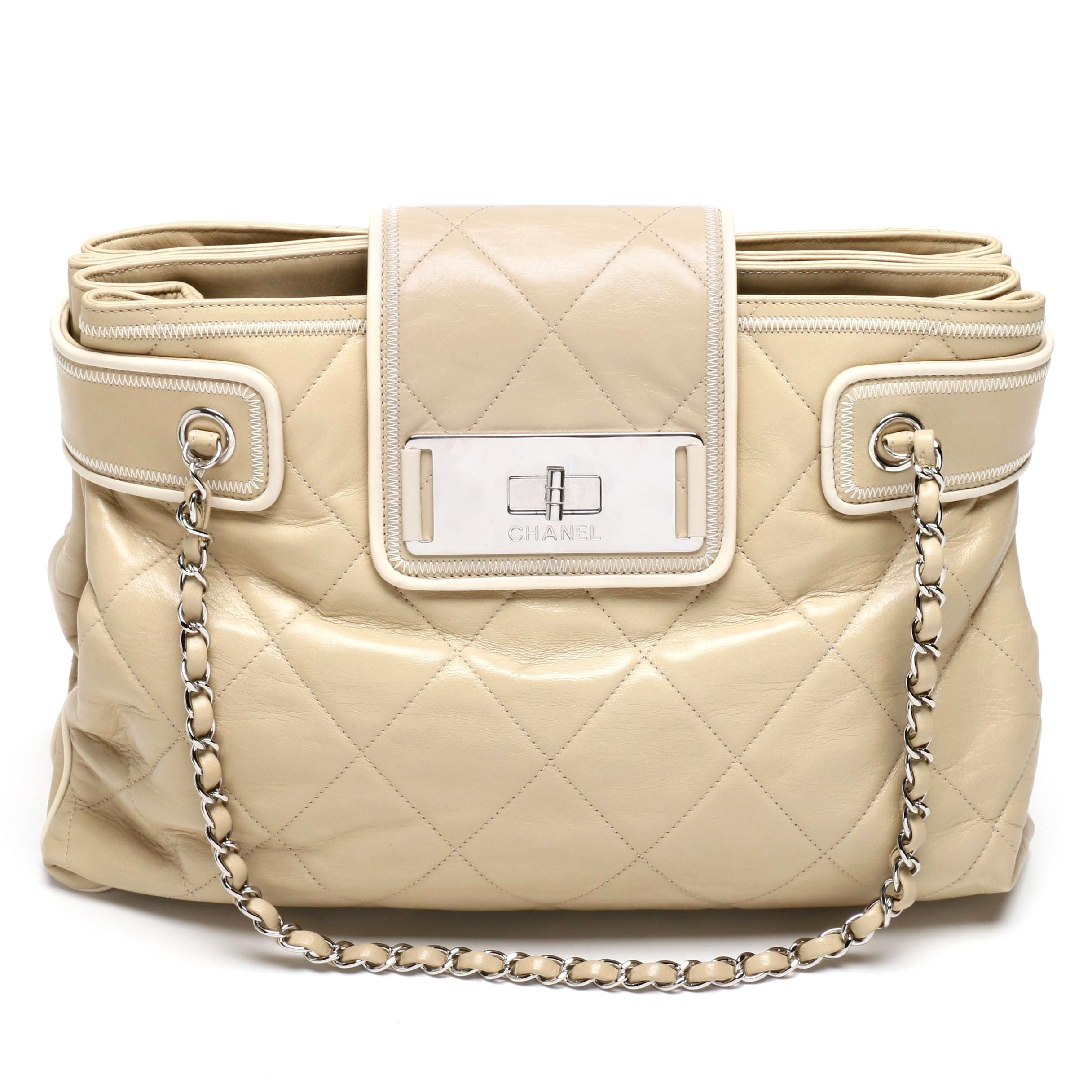Chanel Beige Quilted Lambskin Leather East West Tote Bag